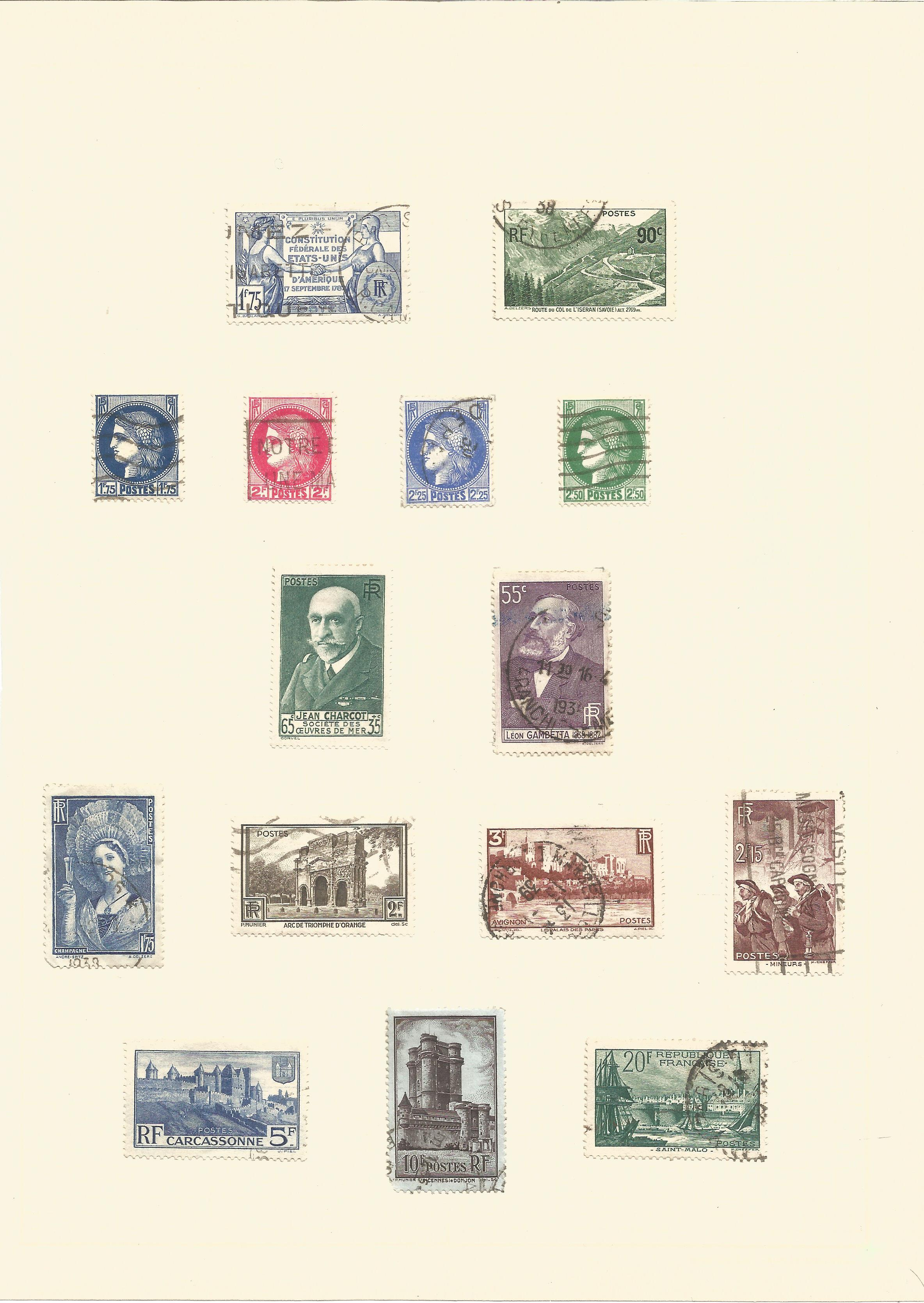 French stamp collection on 19 pages. 1876/1939. Good condition. We combine postage on multiple