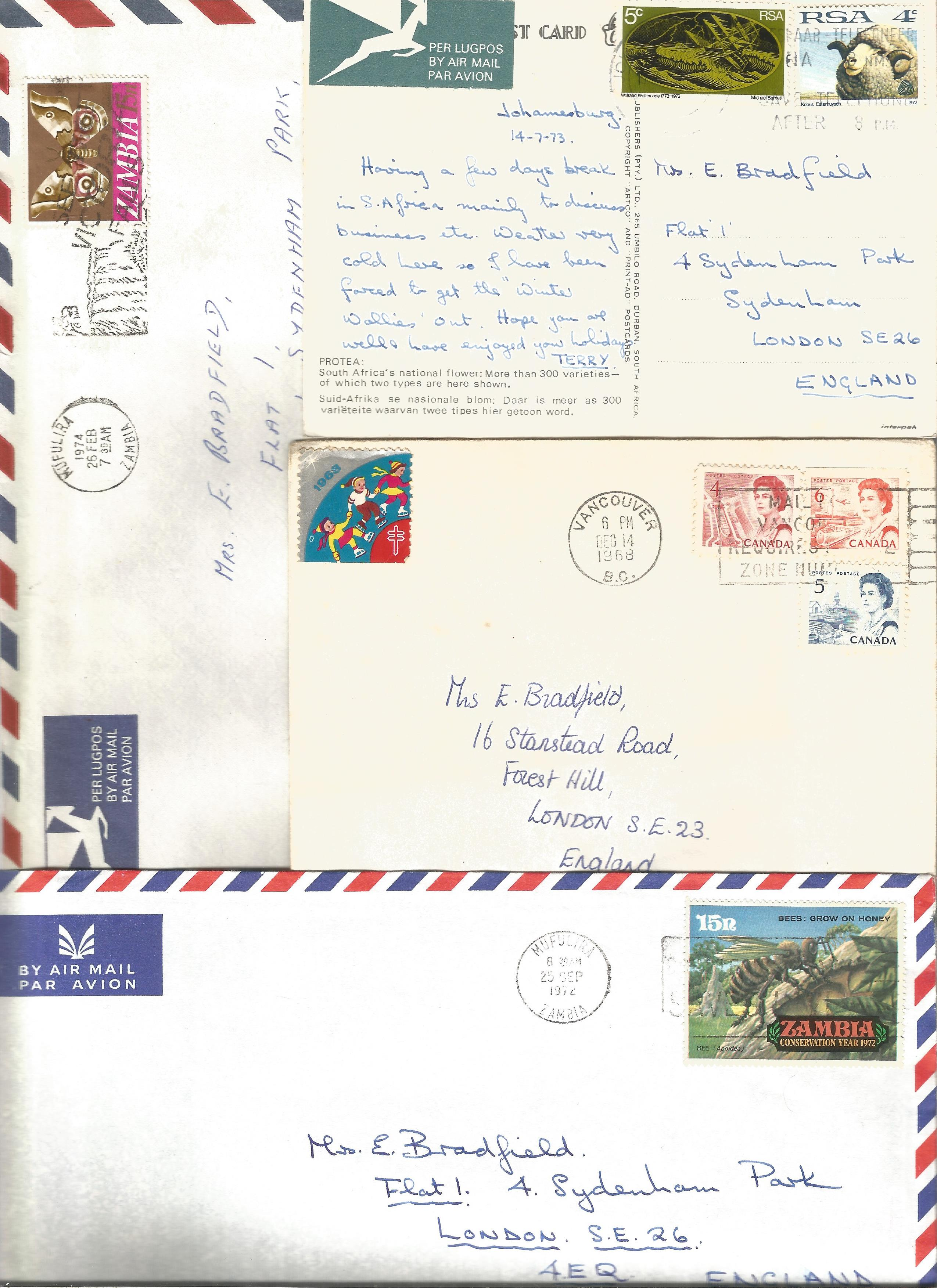 Overseas cover collection. 23 included. Australia, RSA, Canada and Zambia. Good condition. We