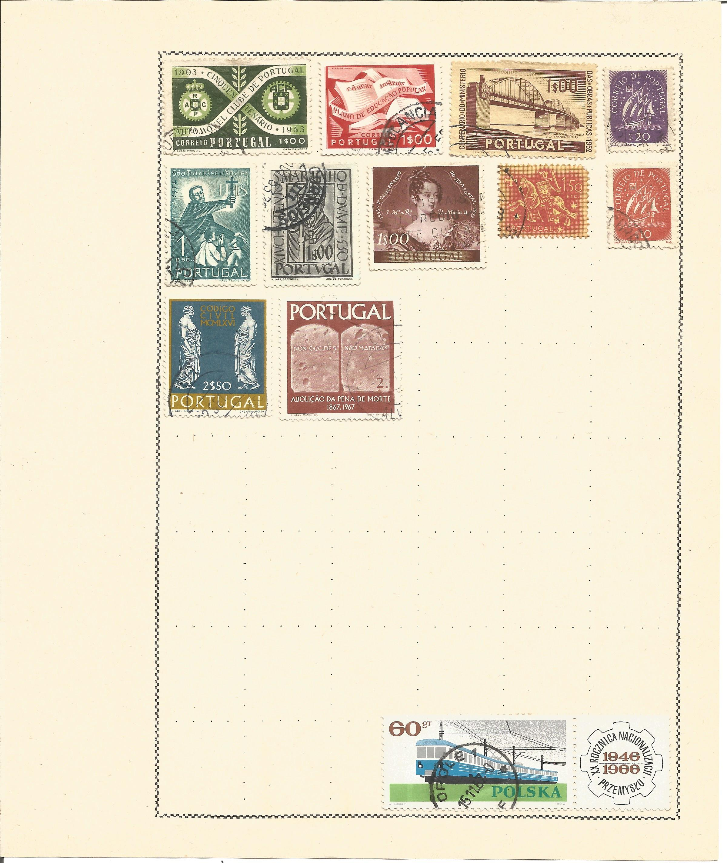 European stamp collection 6 loose album pages countries include Portugal and the Portuguese - Image 2 of 3