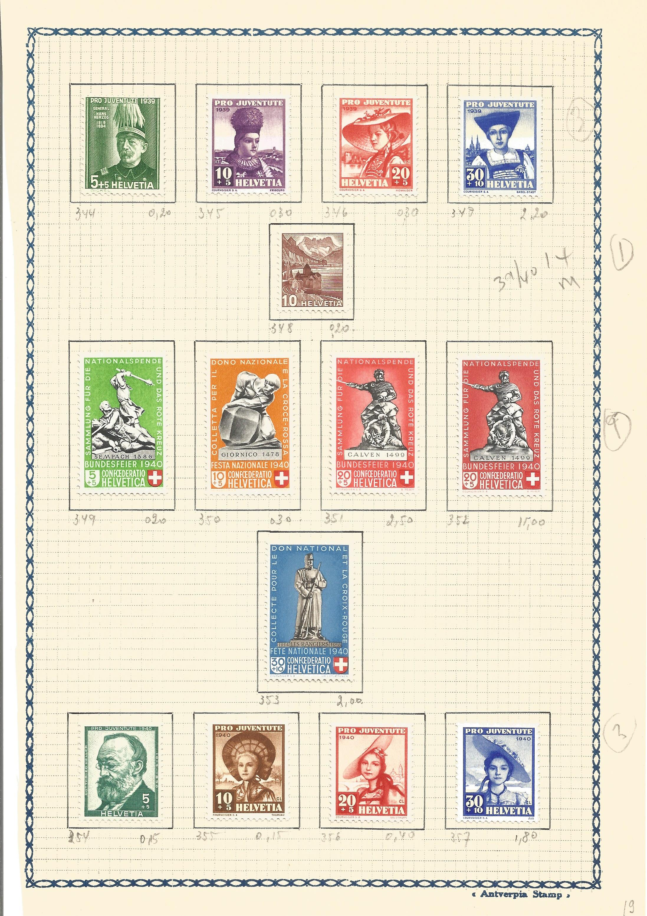 Swiss mint stamps 14 included. 1939/40. Good condition. We combine postage on multiple winning