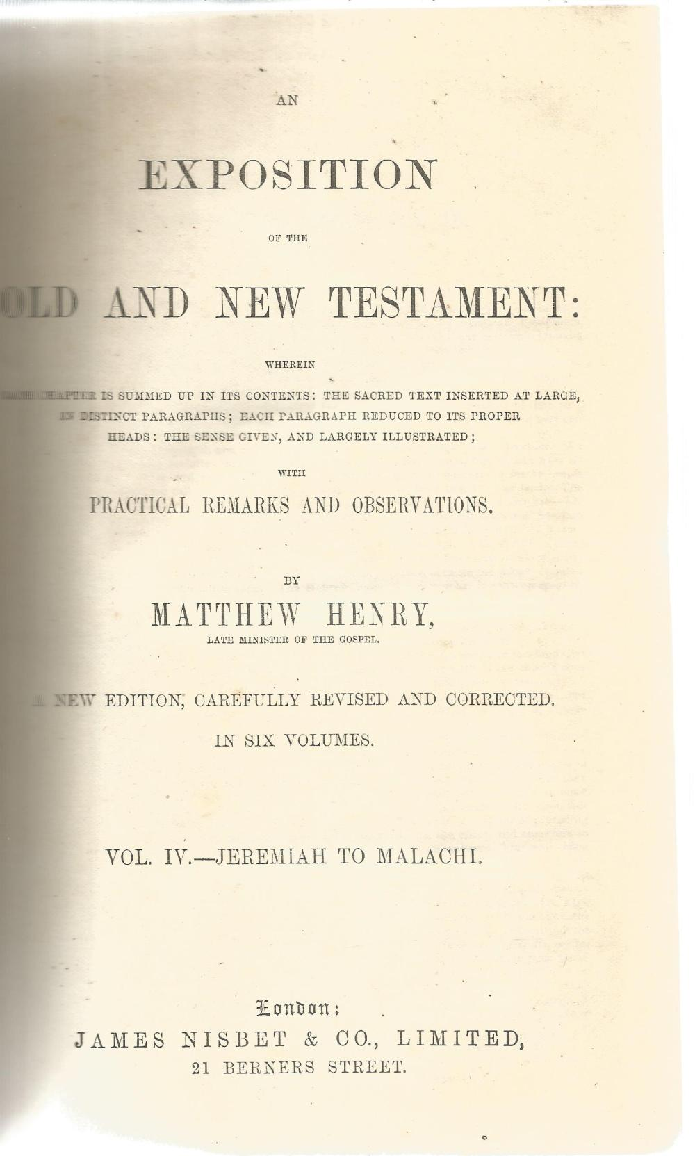 An Exposition of the Old and New Testament by Matthew Henry. Unsigned hardback book with no dust - Image 2 of 2