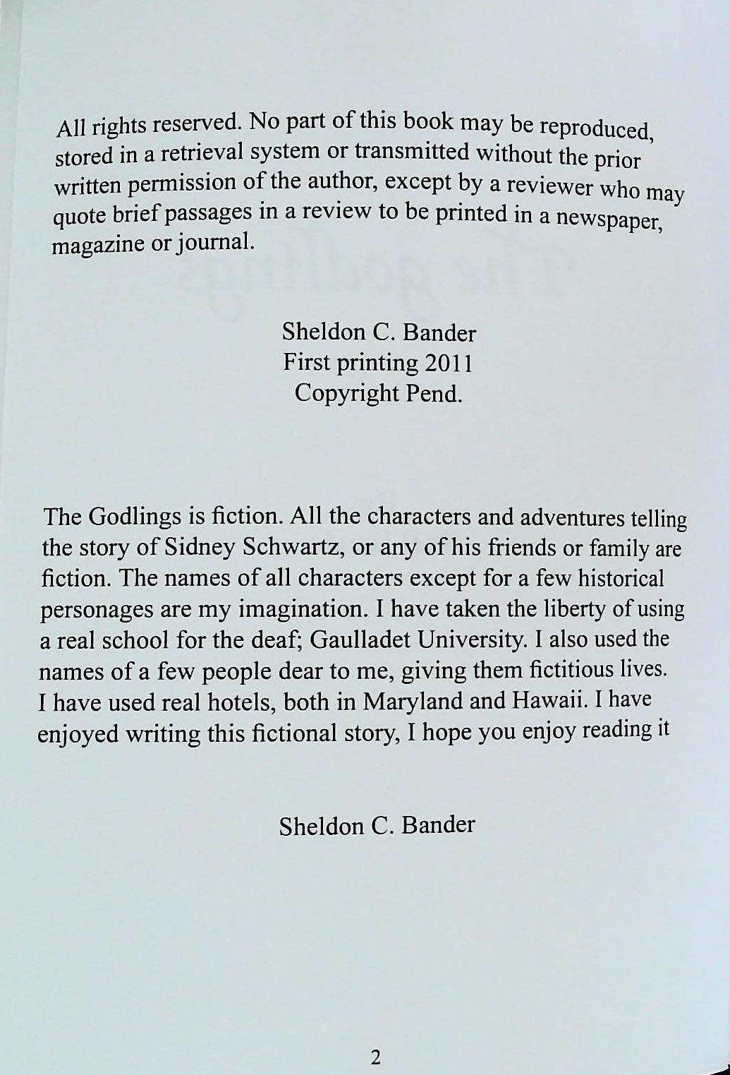 The Godlings paperback book by Sheldon C. Bander. First Edition signed by Author. Published 2011 - Image 4 of 4