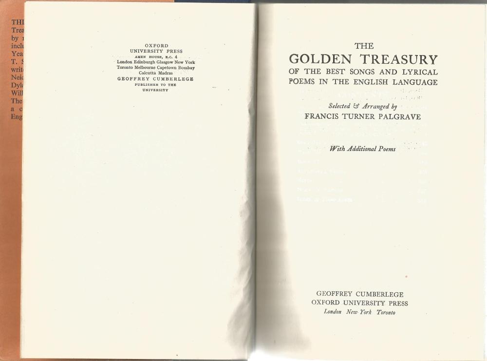 The Golden Treasury by Frances Turner Palgrave. Unsigned hardback book with dust jacket published - Image 2 of 2
