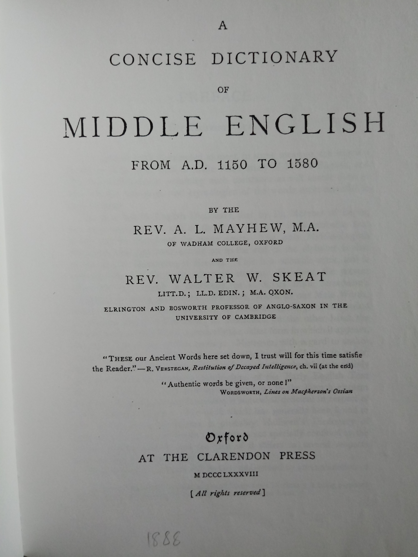 A Concise Dictionary Of Middle English From A. D. 1150 to 1580 by A. L. Mayhew softback book 272 - Image 3 of 3