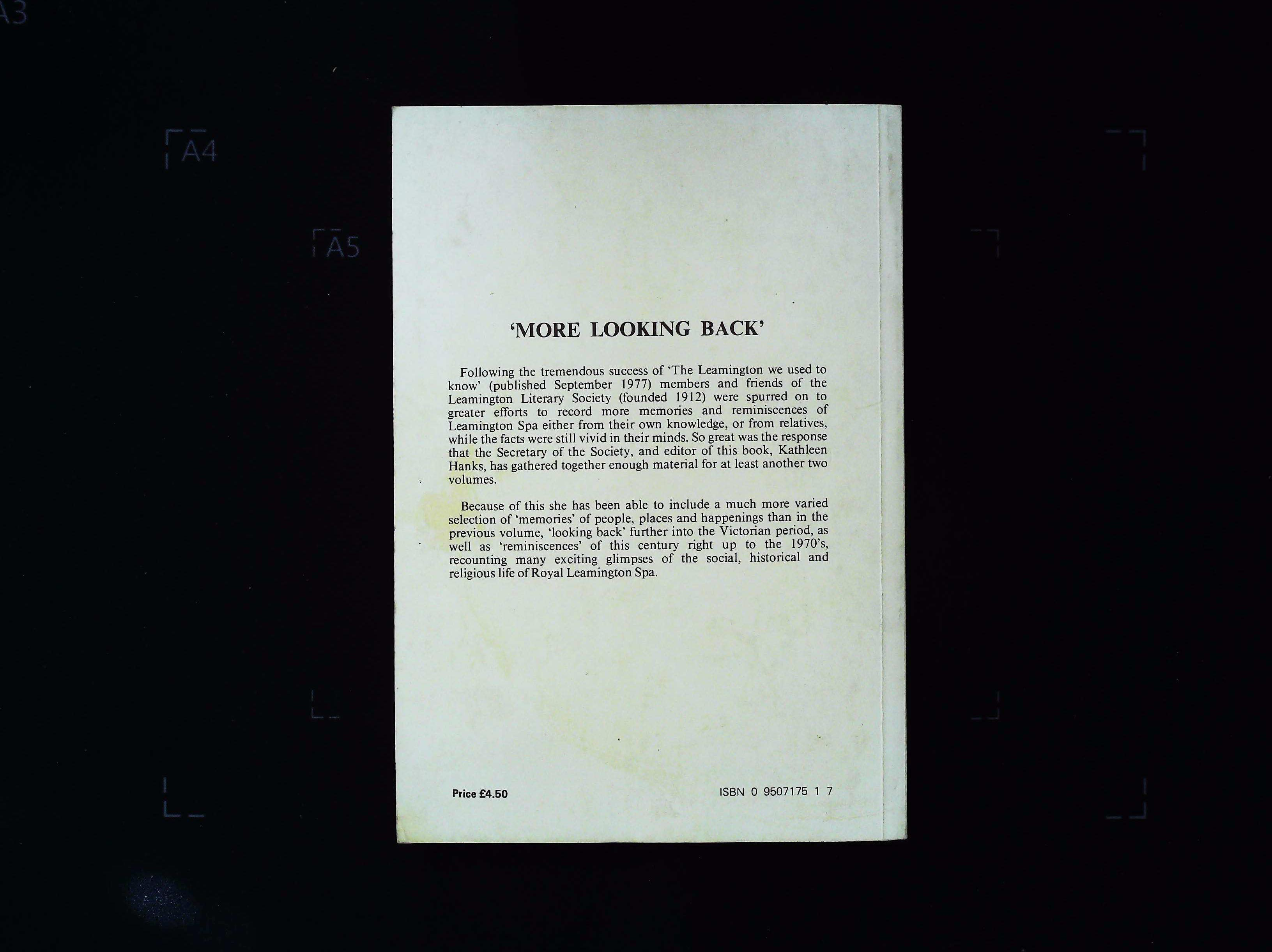 More Looking Back paperback book by The Leamington Literary Society. Published 1980. 181 pages. - Image 2 of 3