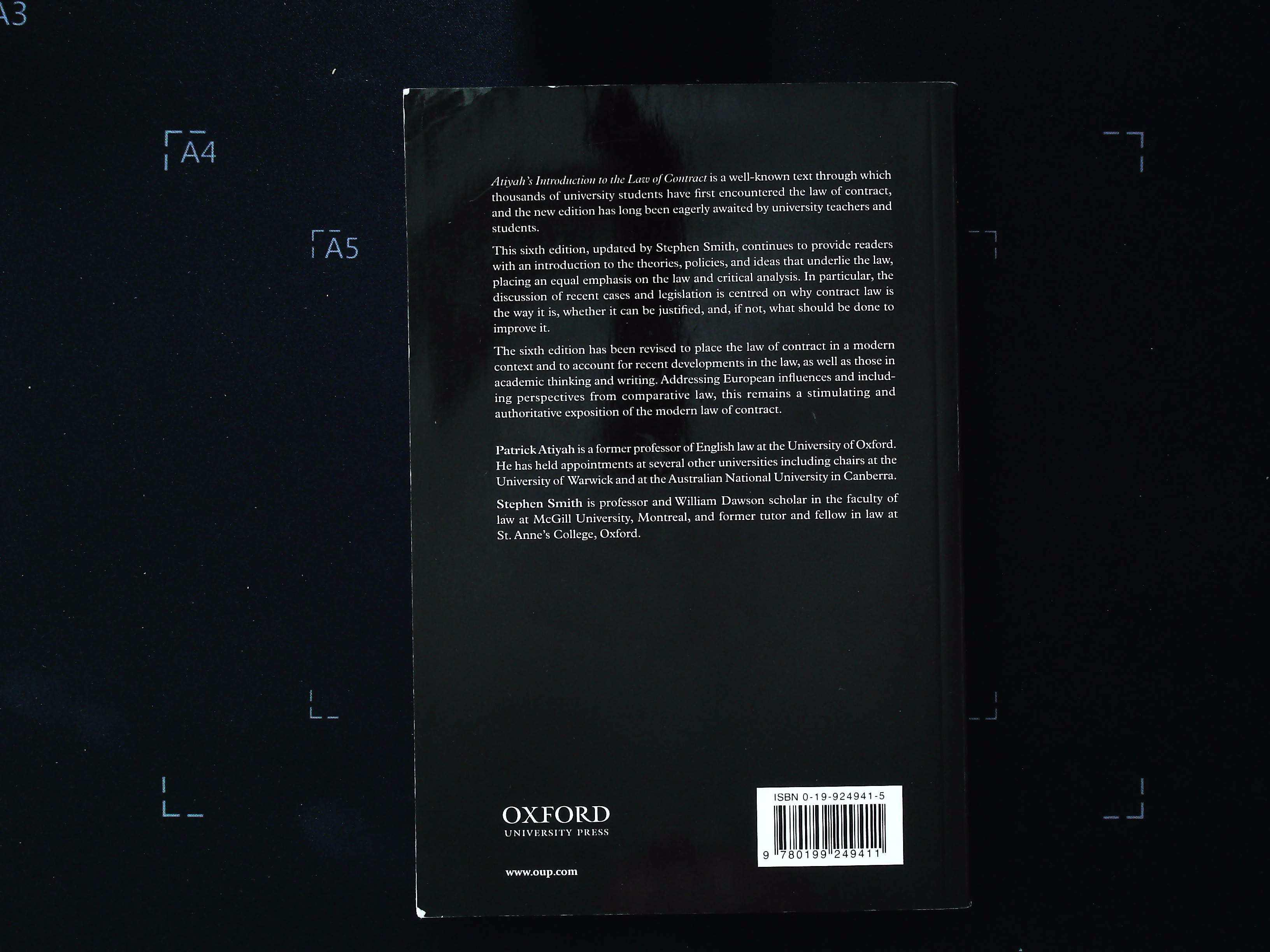 Atiyah's Introduction To The Law Contract 6th Edition paperback book by Stephen A Smith. Published - Image 2 of 3
