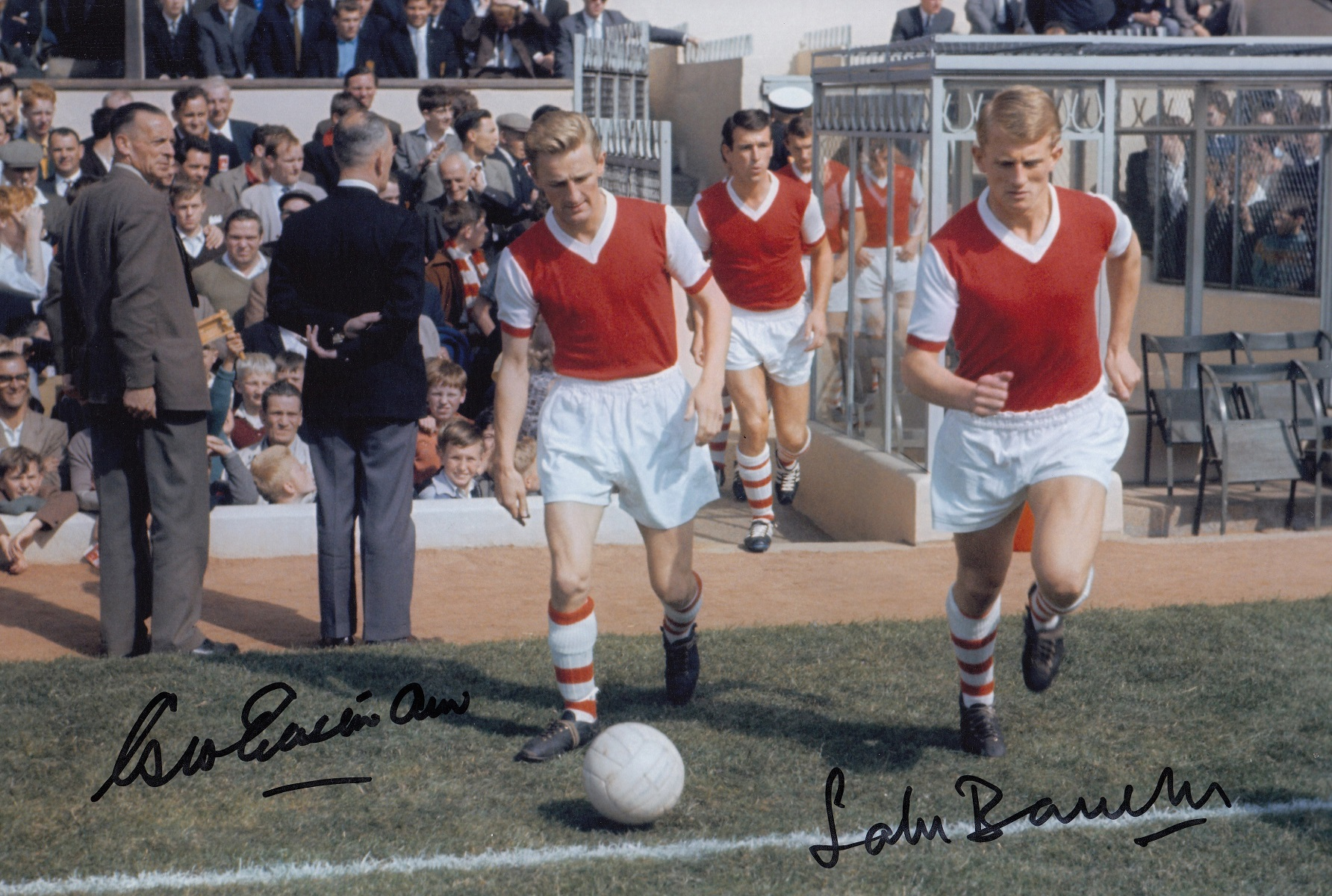 Autographed ARSENAL 12 x 8 photo - Col, depicting Arsenal's GEORGE EASTHAM and JOHN BARNWELL walking