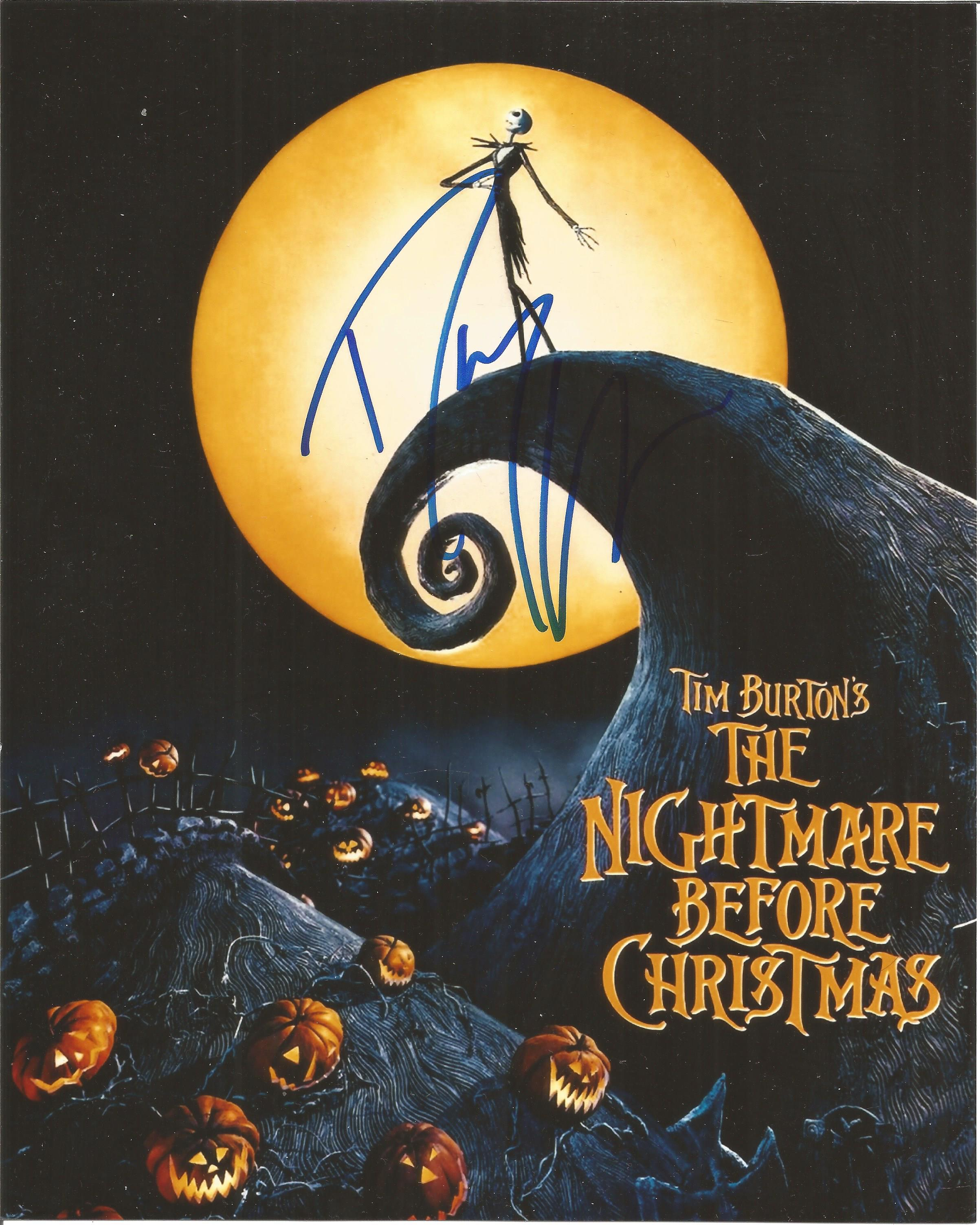 Tim Burton signed The Night Before Christmas colour promo photo. Good Condition. All autographs