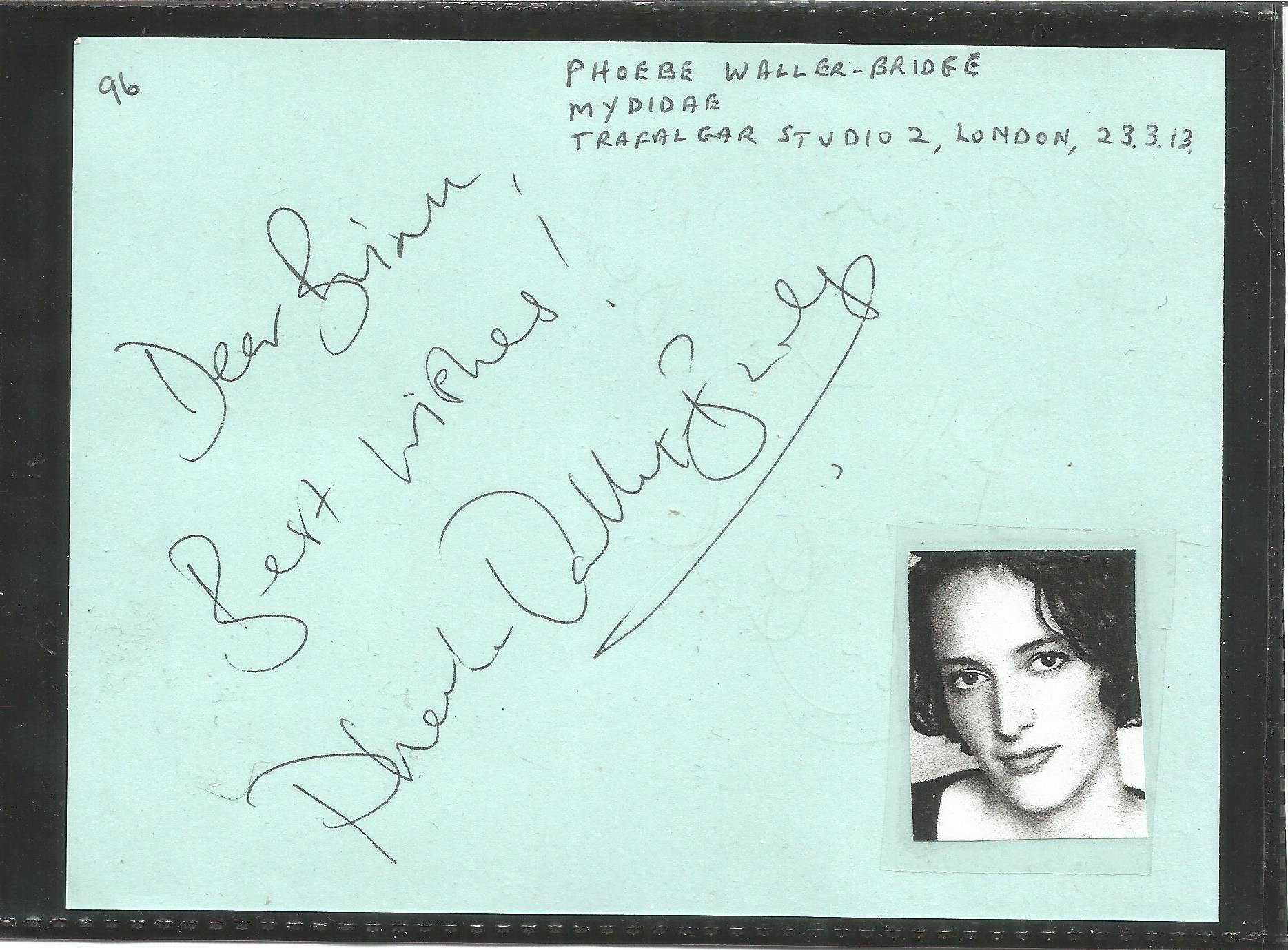Phoebe Waller-Bridge signed, 6x4 blue signed album page. Dedicated to Brian. A small passport