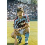 Autographed STEVE HODGE 12 x 8 photo - Col, depicting the Aston Villa midfielder striking a