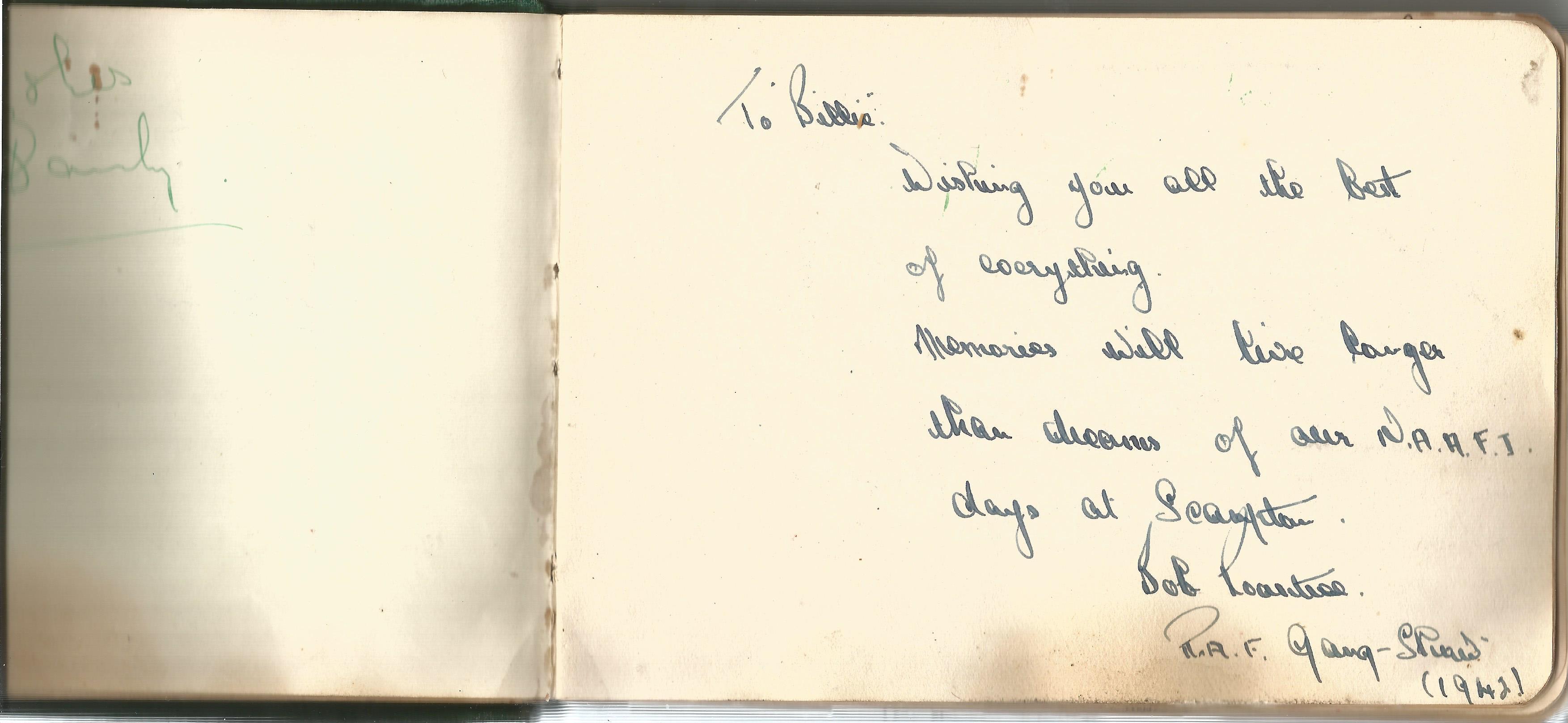 RAF Scampton. 1940-43. Autograph Album. 19cm wide x 13cm tall. Green cloth. Over 250 signatures. - Image 3 of 6
