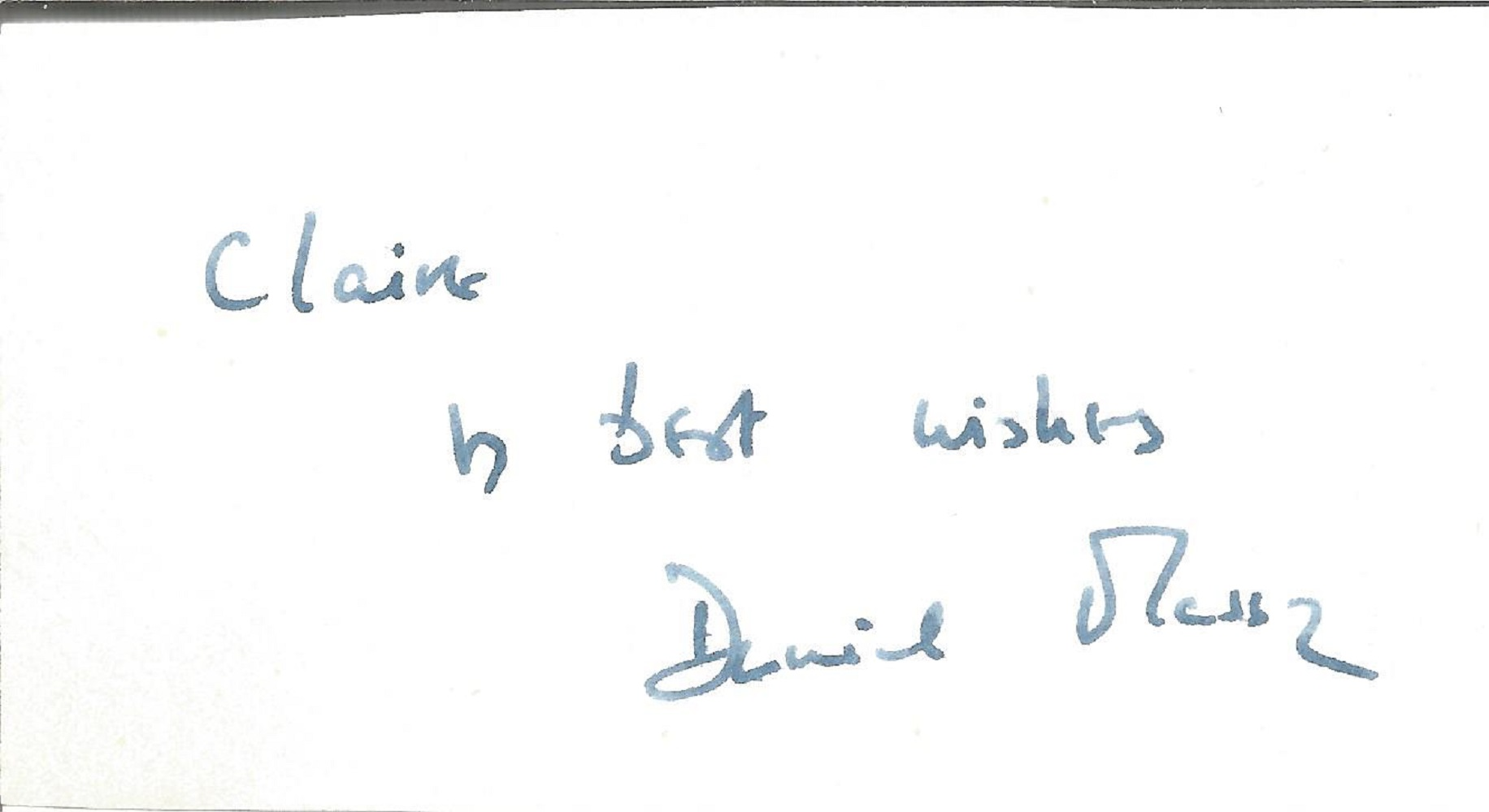 Daniel Massey signed and dedicated 2x5 album page. Massey was an English actor and performer who