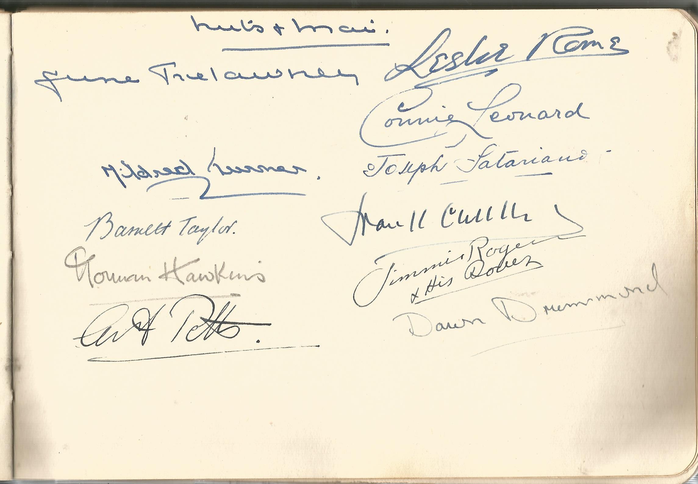 RAF Scampton. 1940-43. Autograph Album. 19cm wide x 13cm tall. Green cloth. Over 250 signatures. - Image 6 of 6