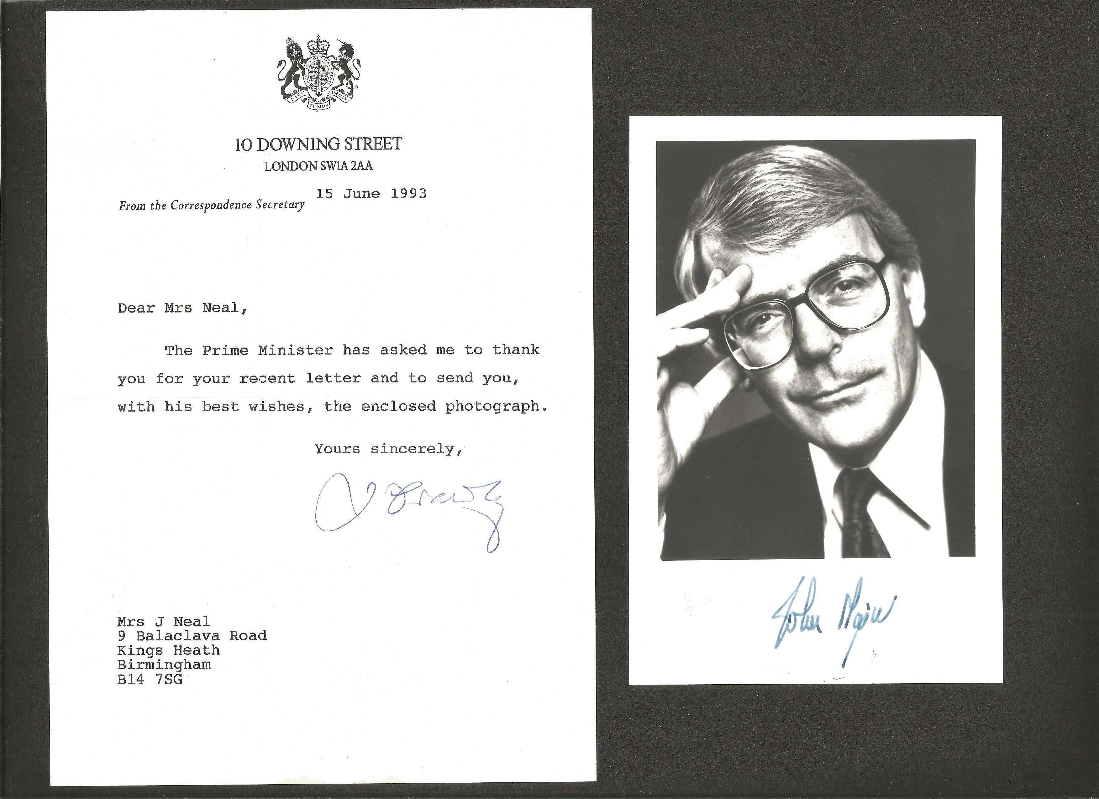 John Major signed 6x4 black and white photo comes with TLS Downing Street headed paper dated 15th
