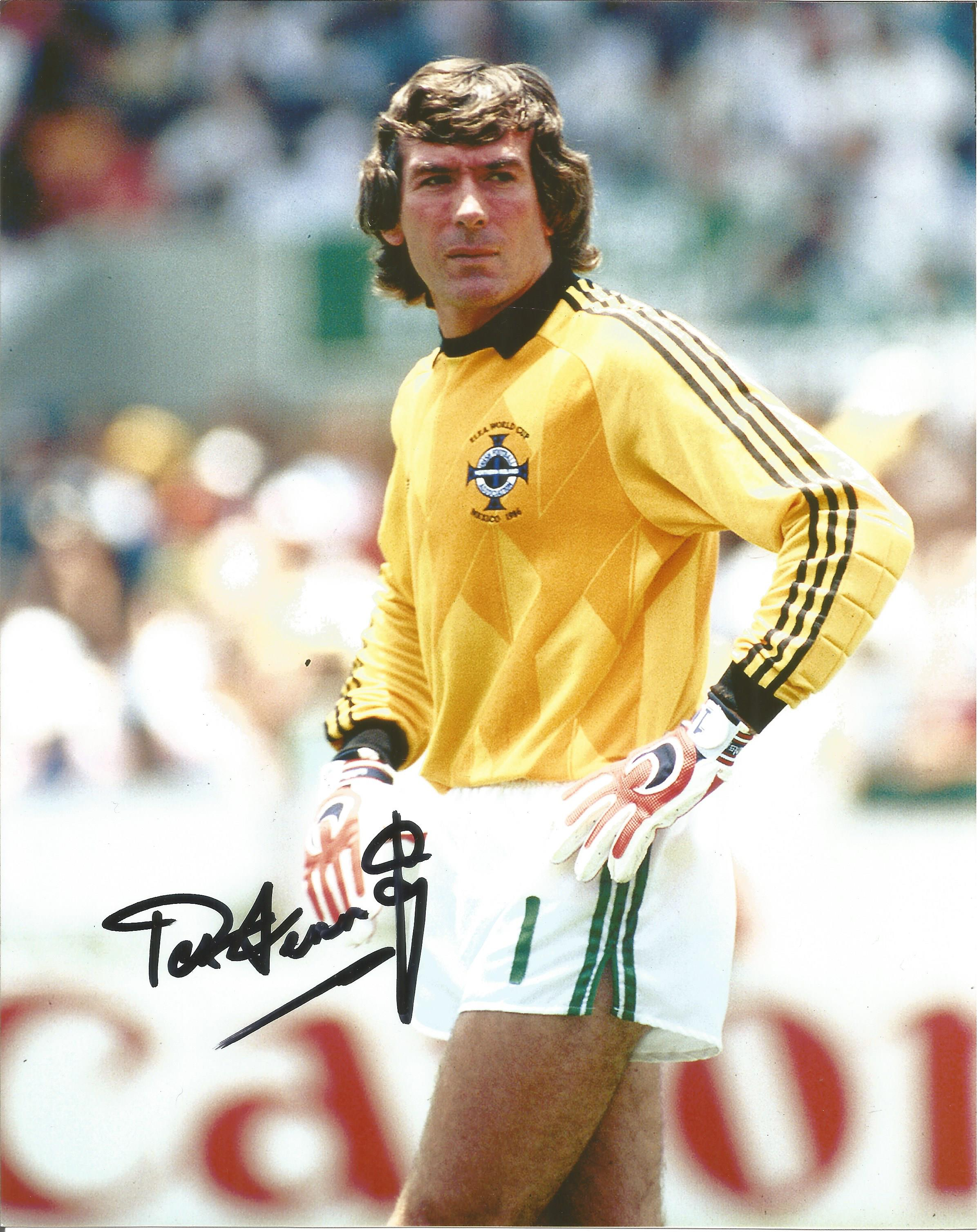 Pat Jennings Signed 8x12 Northern Ireland Photo. Good Condition. All autographs are genuine hand