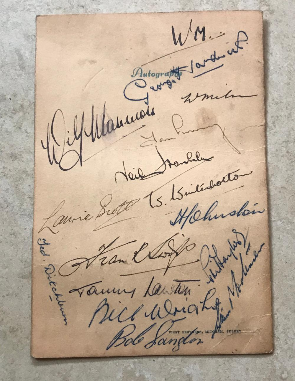 England Football 1947 team signed Menu. 10th October Cafe Royal dinner menu signed by 15 including