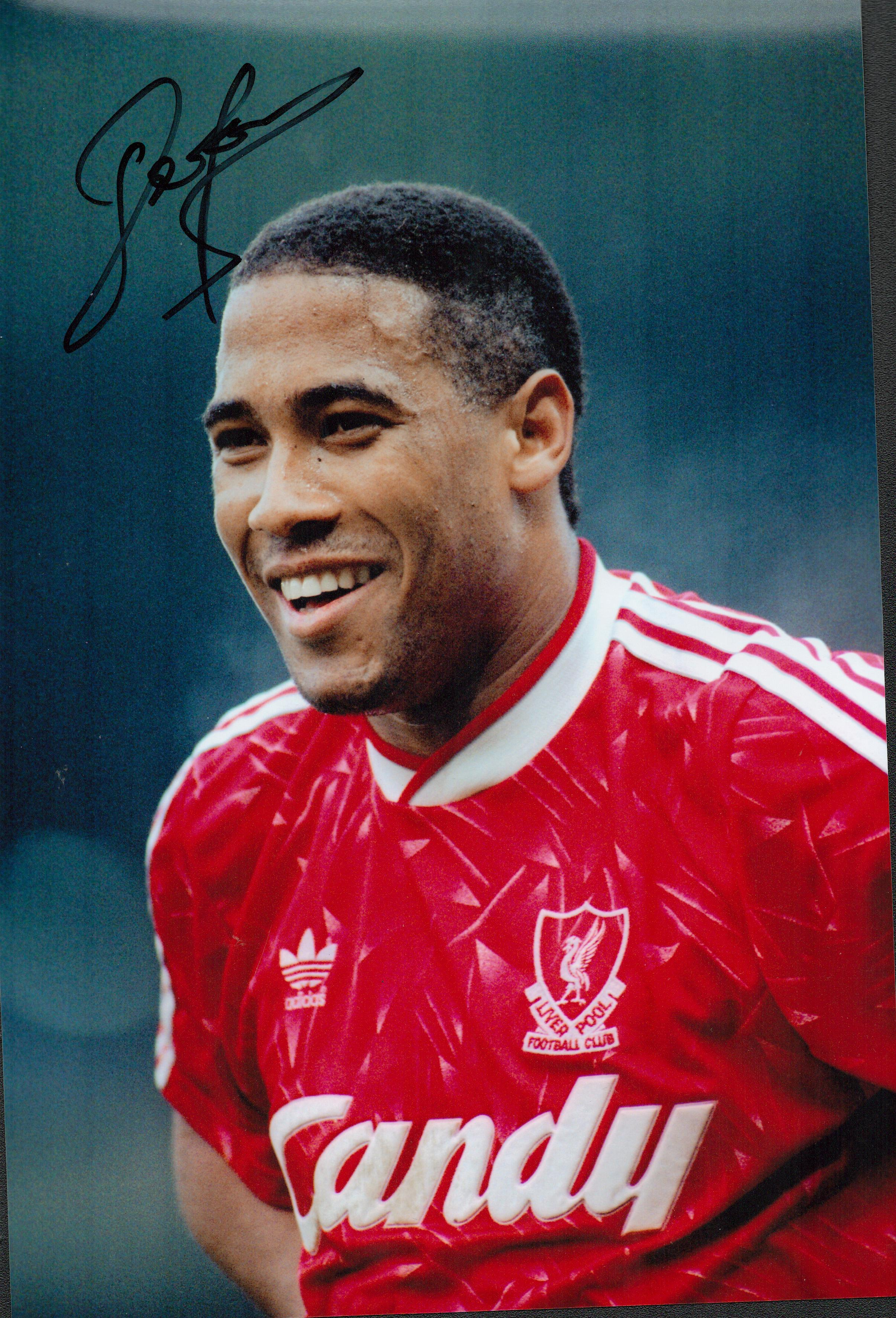 Football John Barnes 12x8 signed colour photo pictured while playing for Liverpool. Good