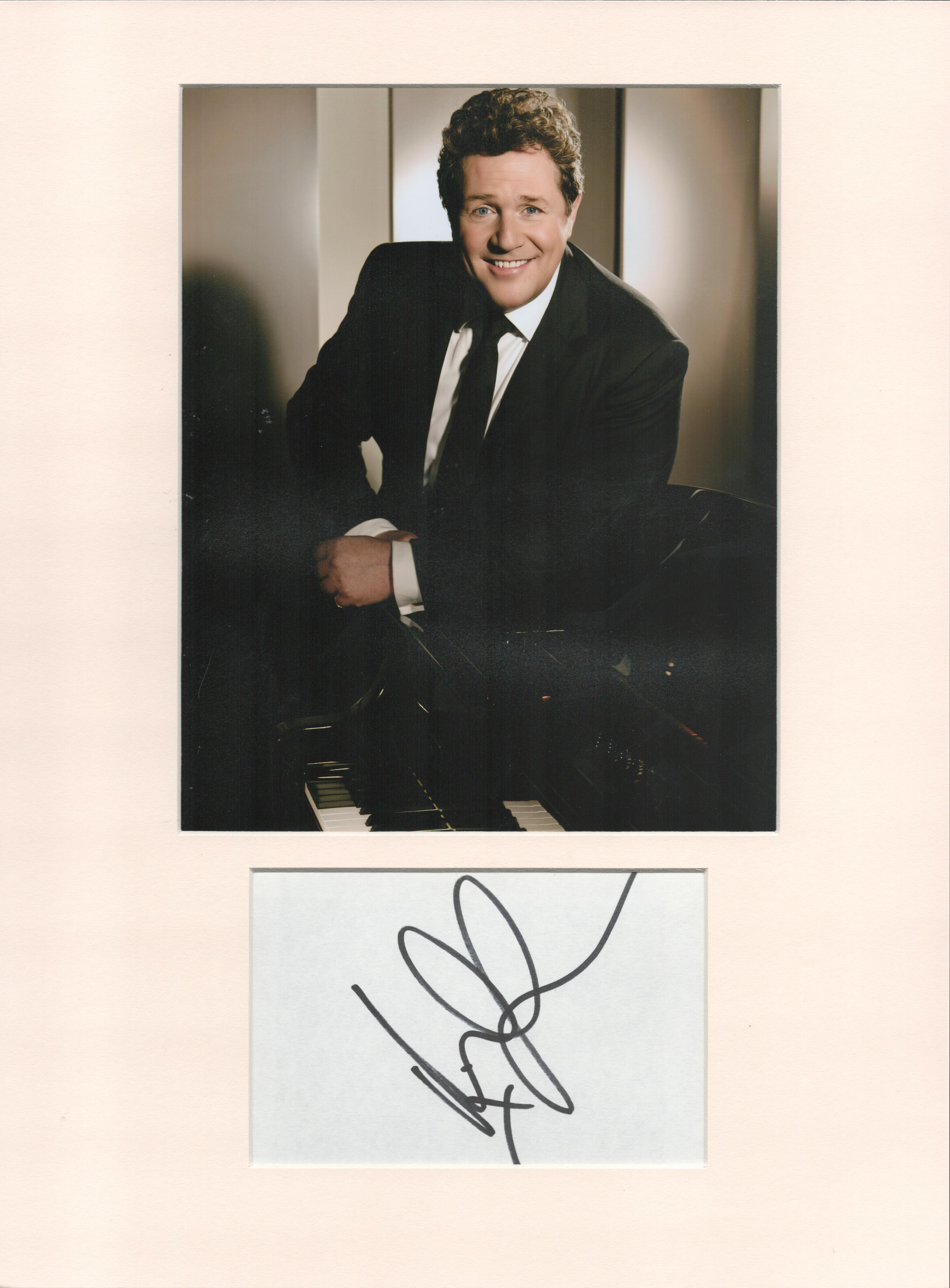 Michael Ball signature piece in autograph presentation. Mounted with photograph to approx. 16 x 12