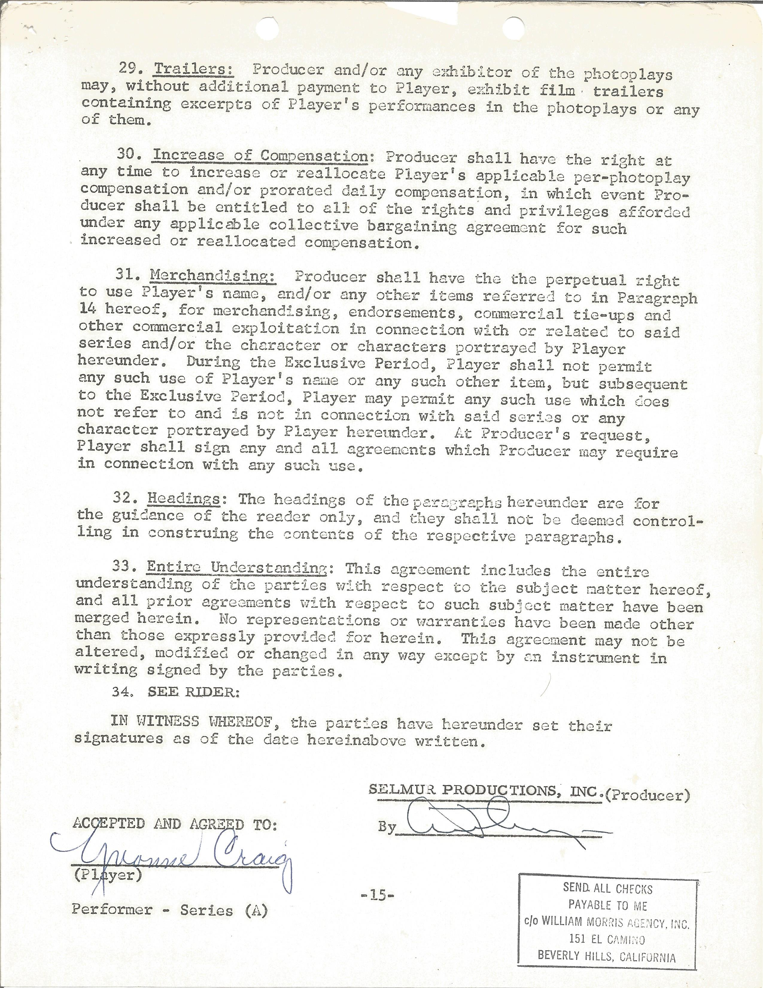 A Yvonne Craig employment contract from the film HOORAY FOR LOVE as the character ABBY YOUNG on - Image 2 of 2