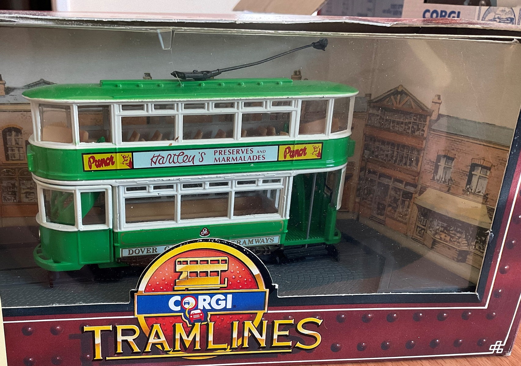 vintage Toys. CORGI collection. Die-cast and plastic Tram, in the original box, box slightly worn.