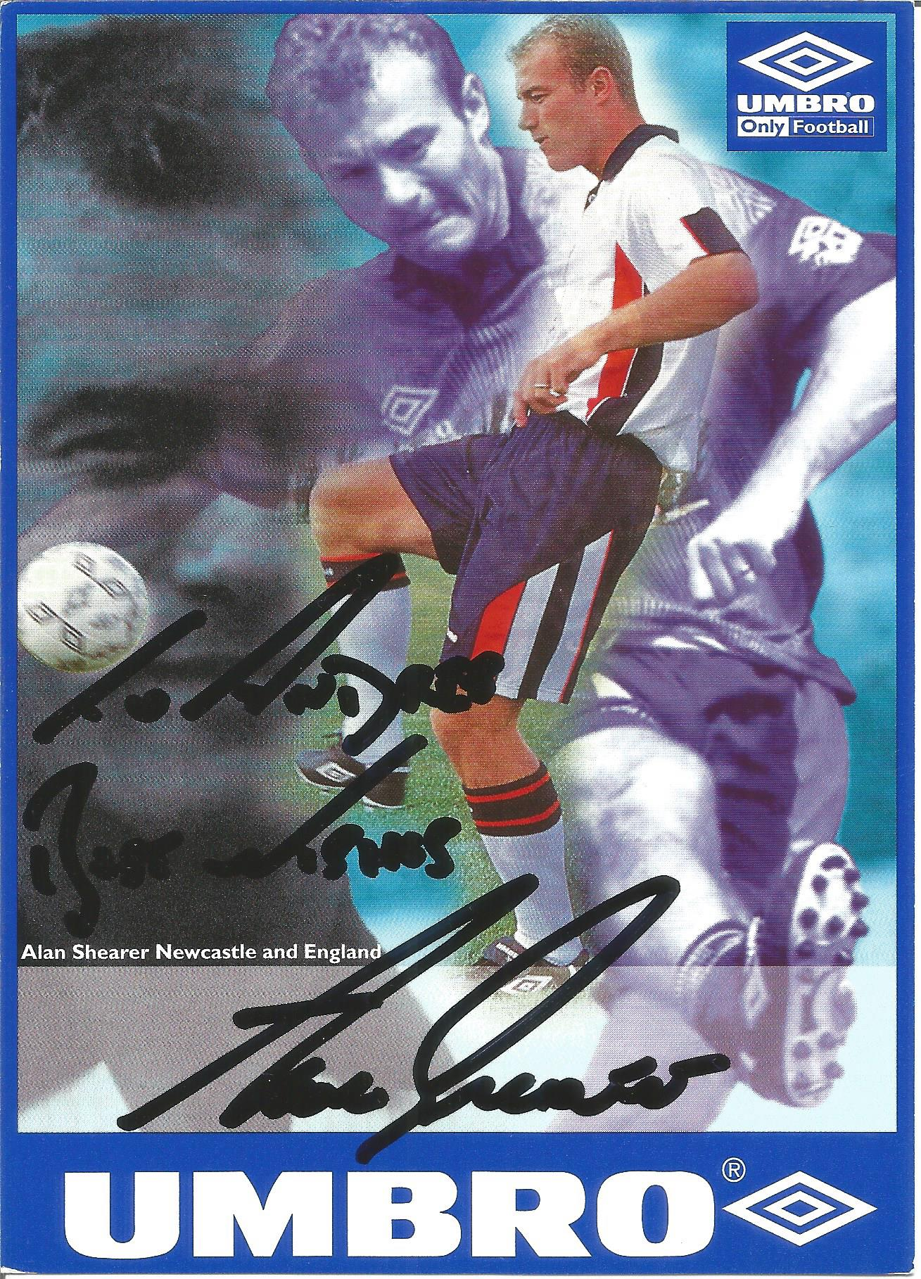 Alan Shearer Signed England Umbro Promo Photocard. Good Condition. All autographs are genuine hand