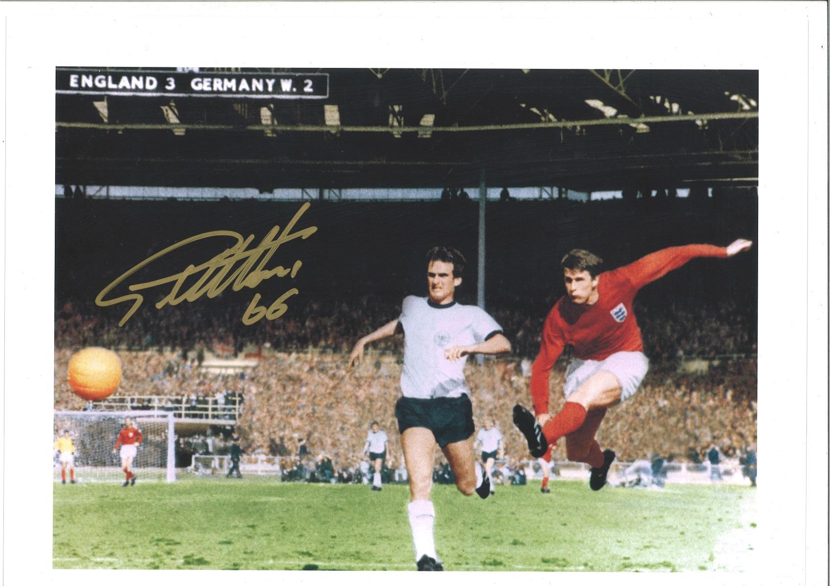 Geoff Hurst Signed 12x16 England 1966 World Cup Final Artist Print. Good Condition. All autographs