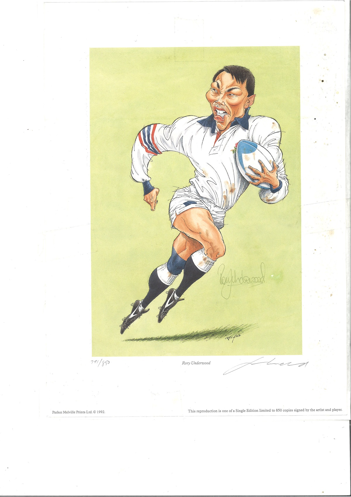 Rory Underwood Signed England Rugby Caricature 10x14 Limited Edition Print. Good Condition. All