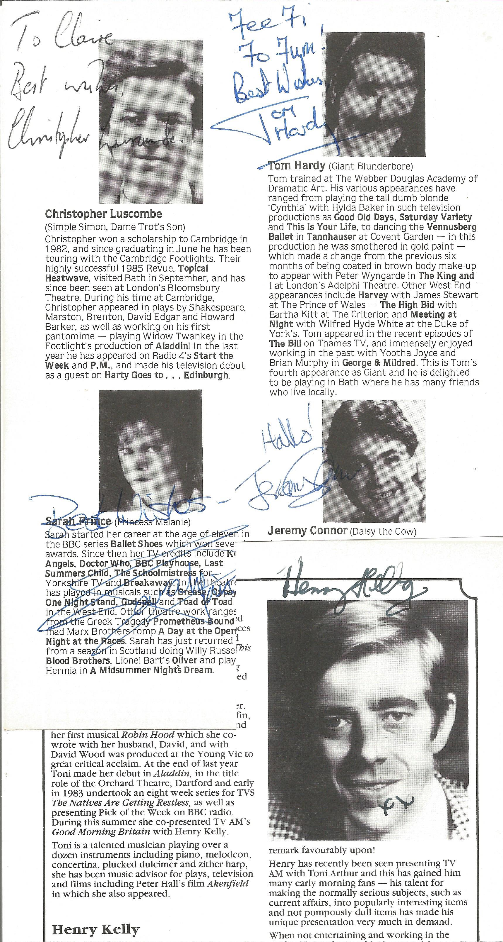 Theatre programme signature collection includes names such as John Nettles, Henry Kelly, Mark Curry,