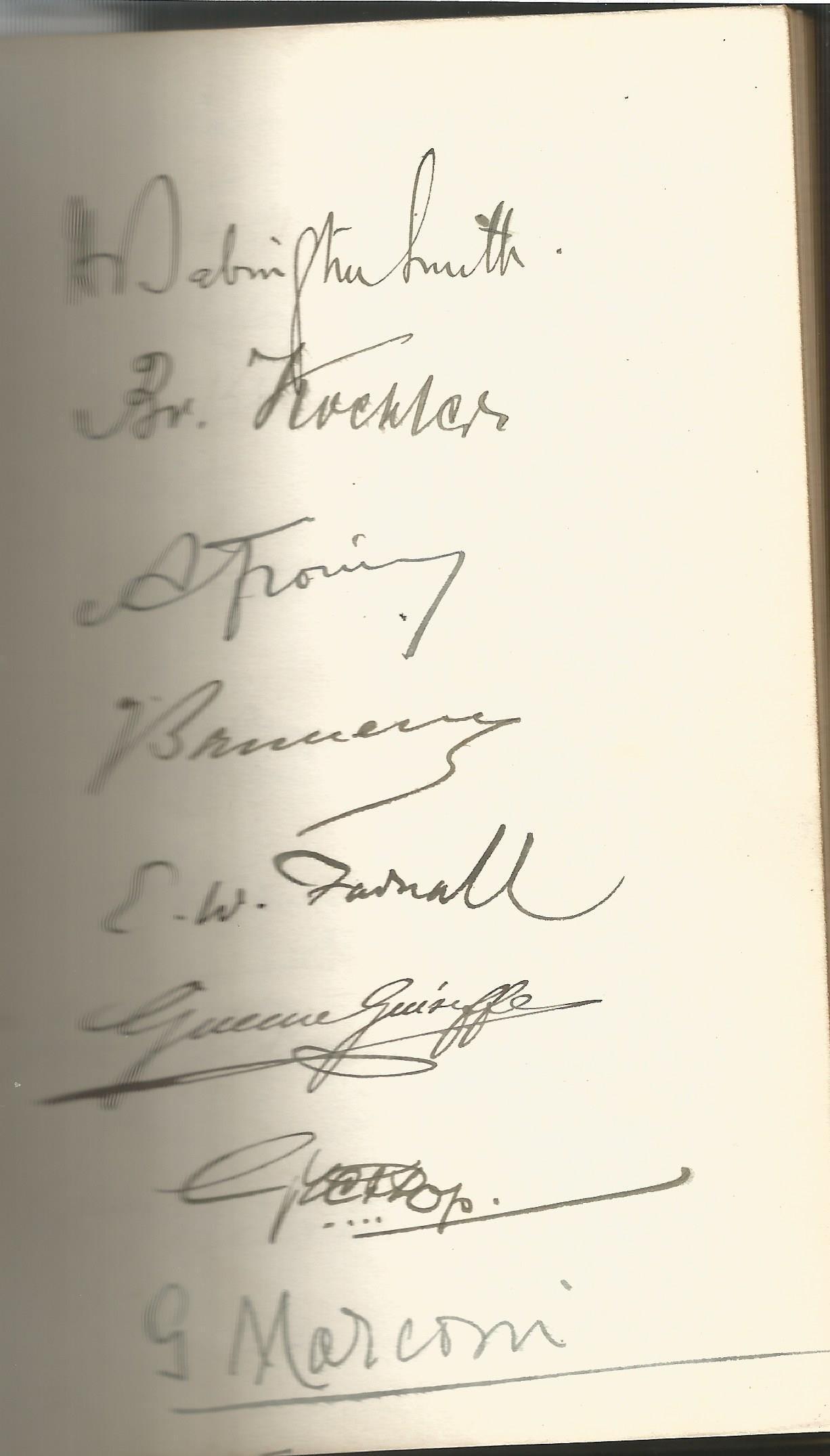 Guglielmo Marconi multiple signed International Radio Telegraph Conference London 1912 vintage