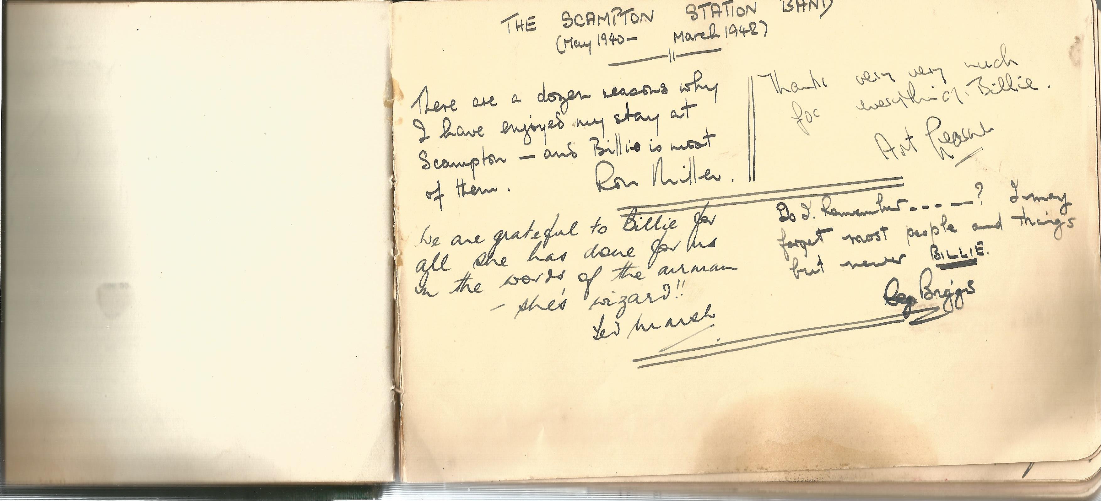 RAF Scampton. 1940-43. Autograph Album. 19cm wide x 13cm tall. Green cloth. Over 250 signatures. - Image 5 of 6