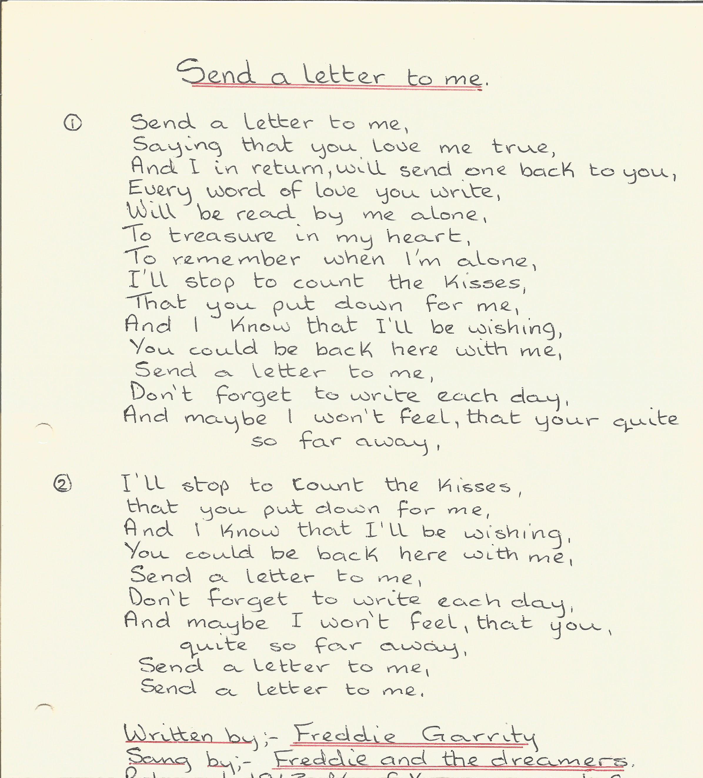 Freddie and The Dreamers 1960s Band Signed Lyrics Page Send A Letter To Me With Photo. Good