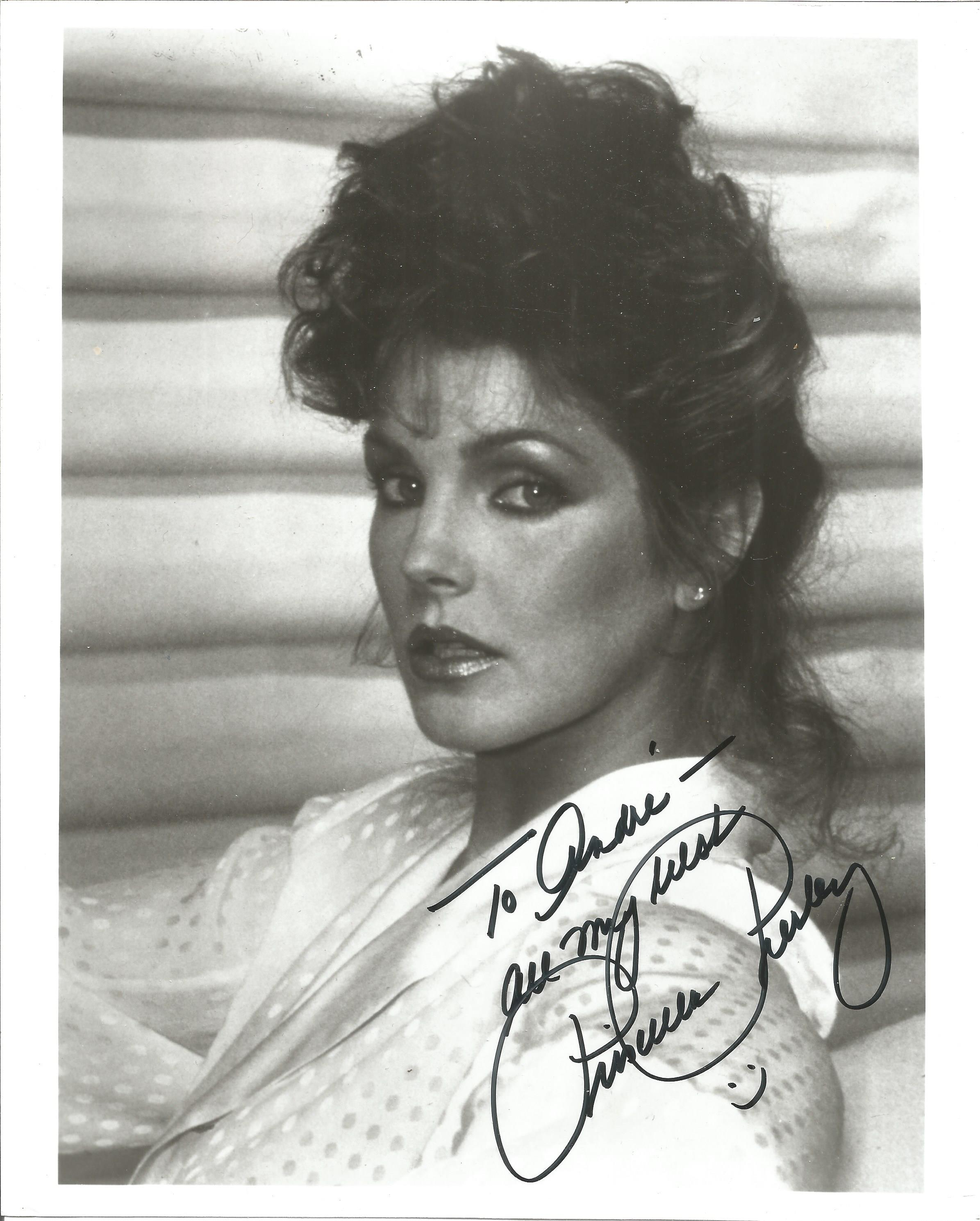 Priscilla Presley signed 10x8 black and white photo. Dedicated. Good Condition. All autographs are