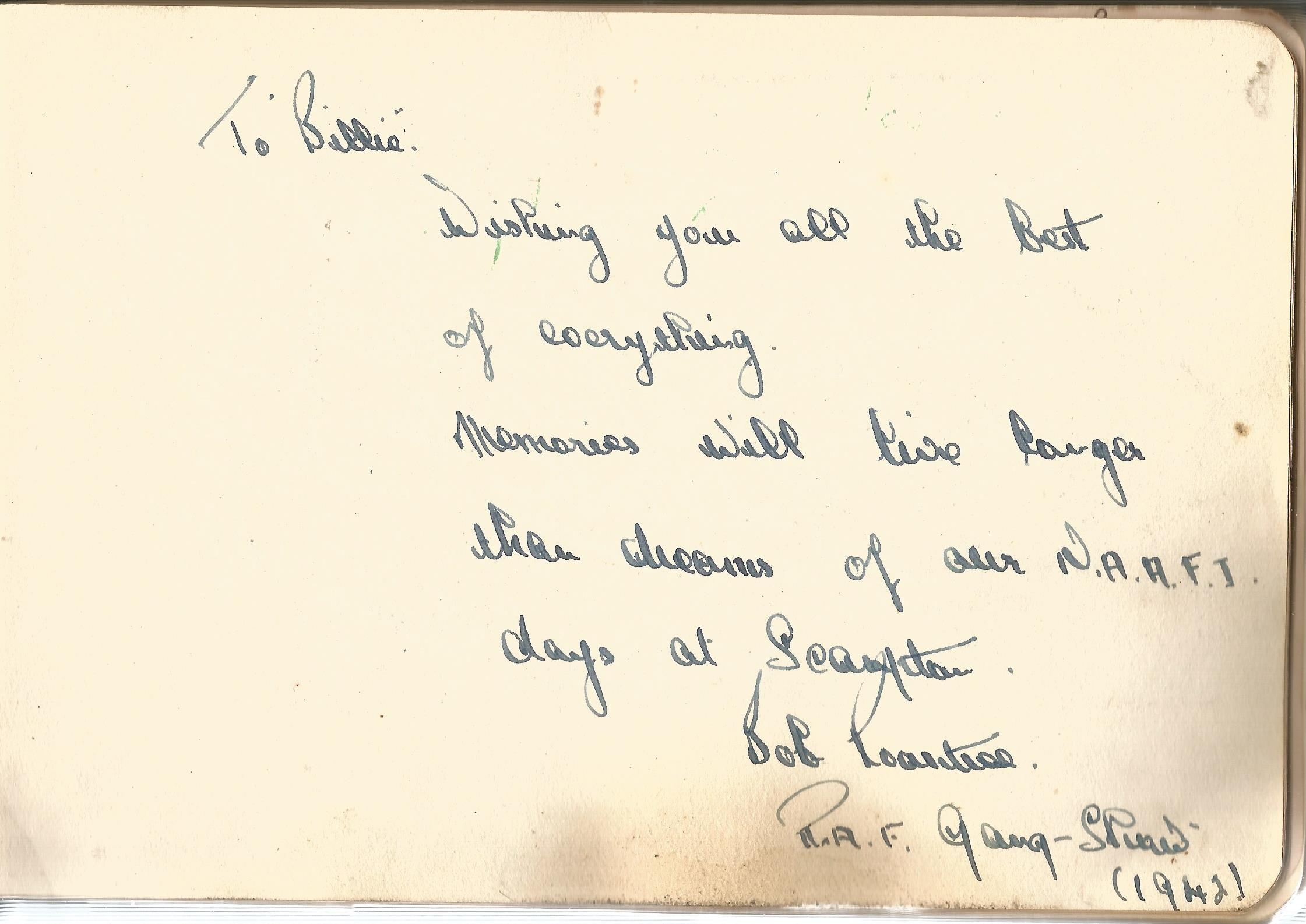 RAF Scampton. 1940-43. Autograph Album. 19cm wide x 13cm tall. Green cloth. Over 250 signatures.