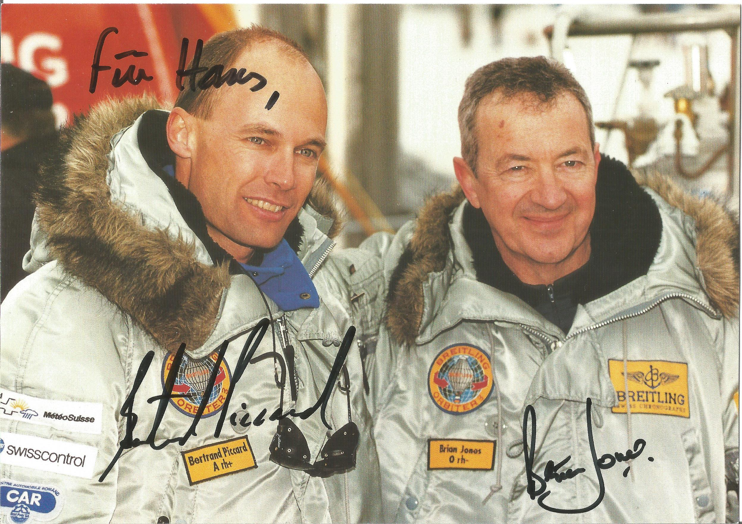 Bertrand Piccard and Brian Jones 8x6 colour postcard. Photo shows Piccard and Jones together, both