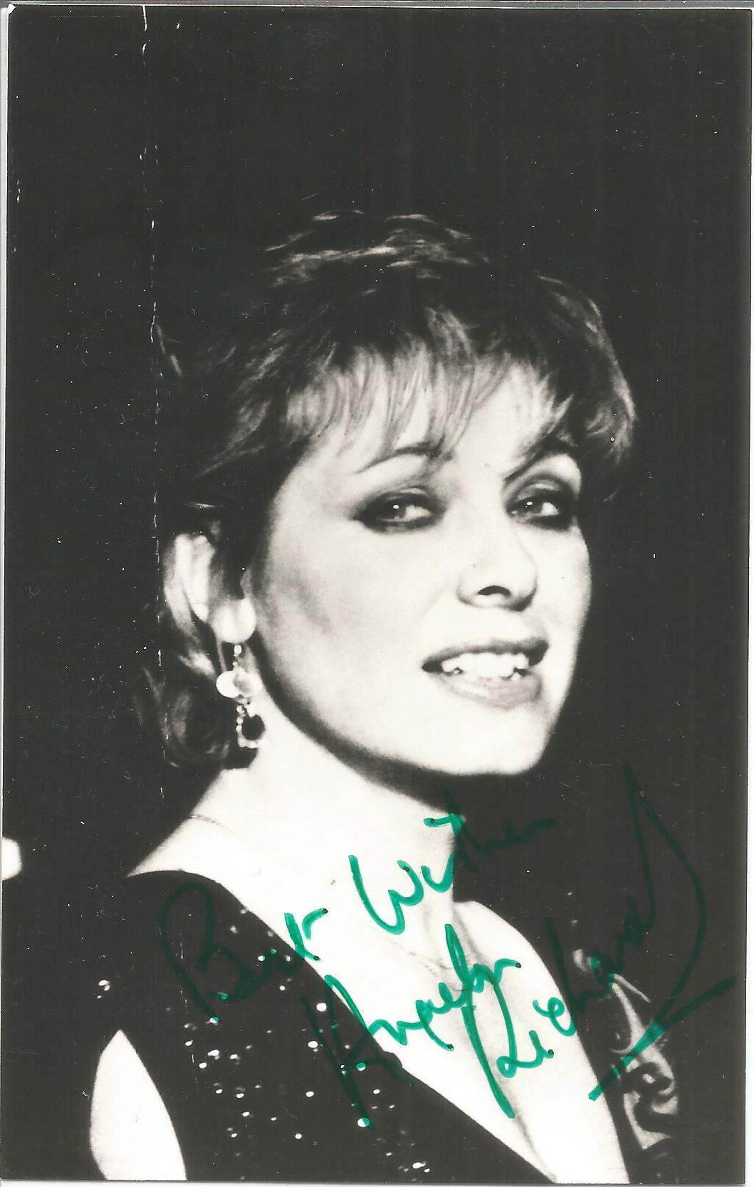 Angela Richards 6x4 signed and inscribed black and white photograph. Richards is an English