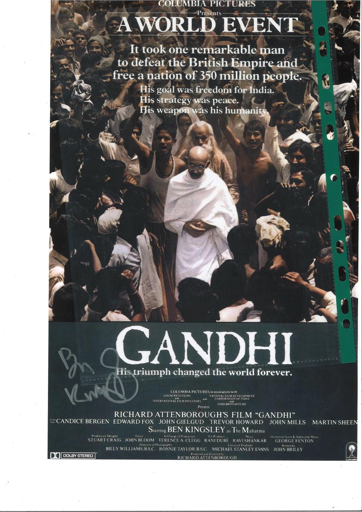 Ben Kingsley signed 16x12 Gandhi colour promo photo. Sir Ben Kingsley Kt (born Krishna Pandit