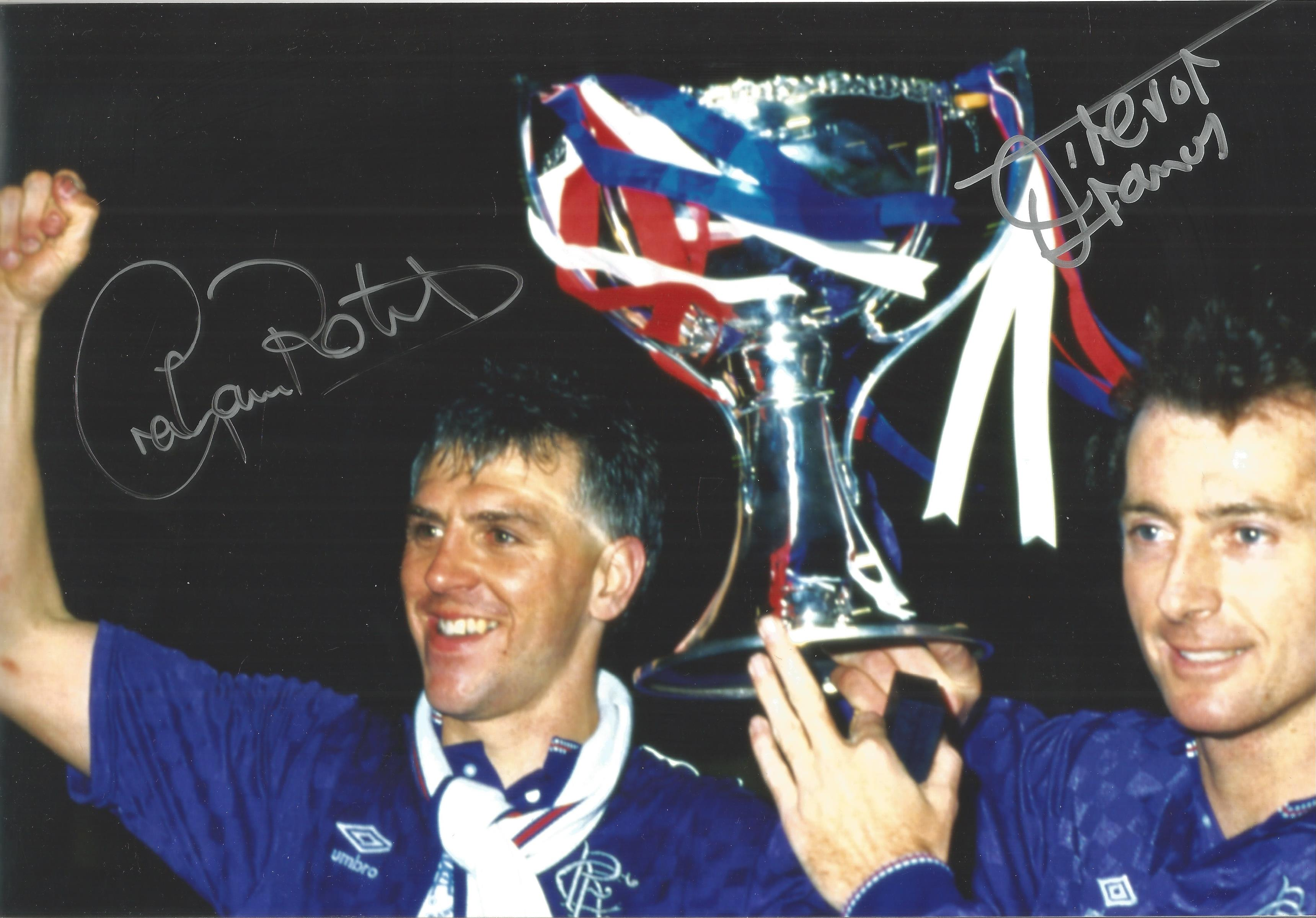 Graham Roberts and Trevor Francis Signed 8x12 Glasgow Rangers Photo. Good Condition. All
