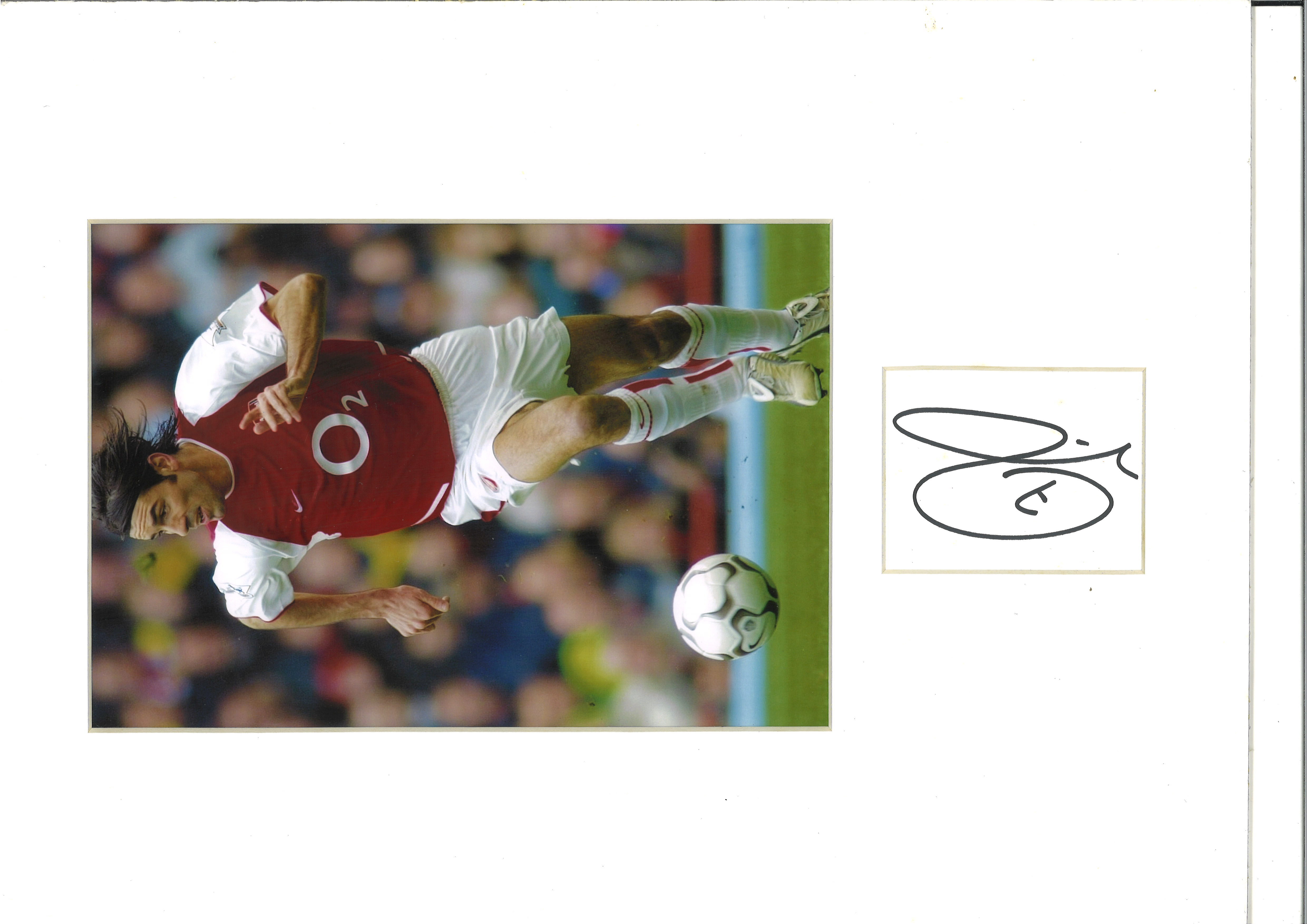 Robert Pires Signed Card In 12x16 Mounted Arsenal Photo. Good Condition. All autographs are