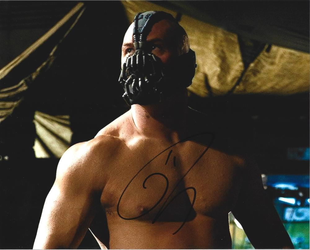 Tom Hardy signed 10x8 colour photo pictured in his role as Bane in the film The Dark Knight Rises.
