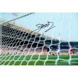 Football John Aldridge signed 10x8 colour photo pictured scoring for Liverpool against Everton in