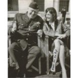 Niki Van Der Zyl signed 10x8 photo pictured with Gert Frobe from the James Bond Film Goldfinger