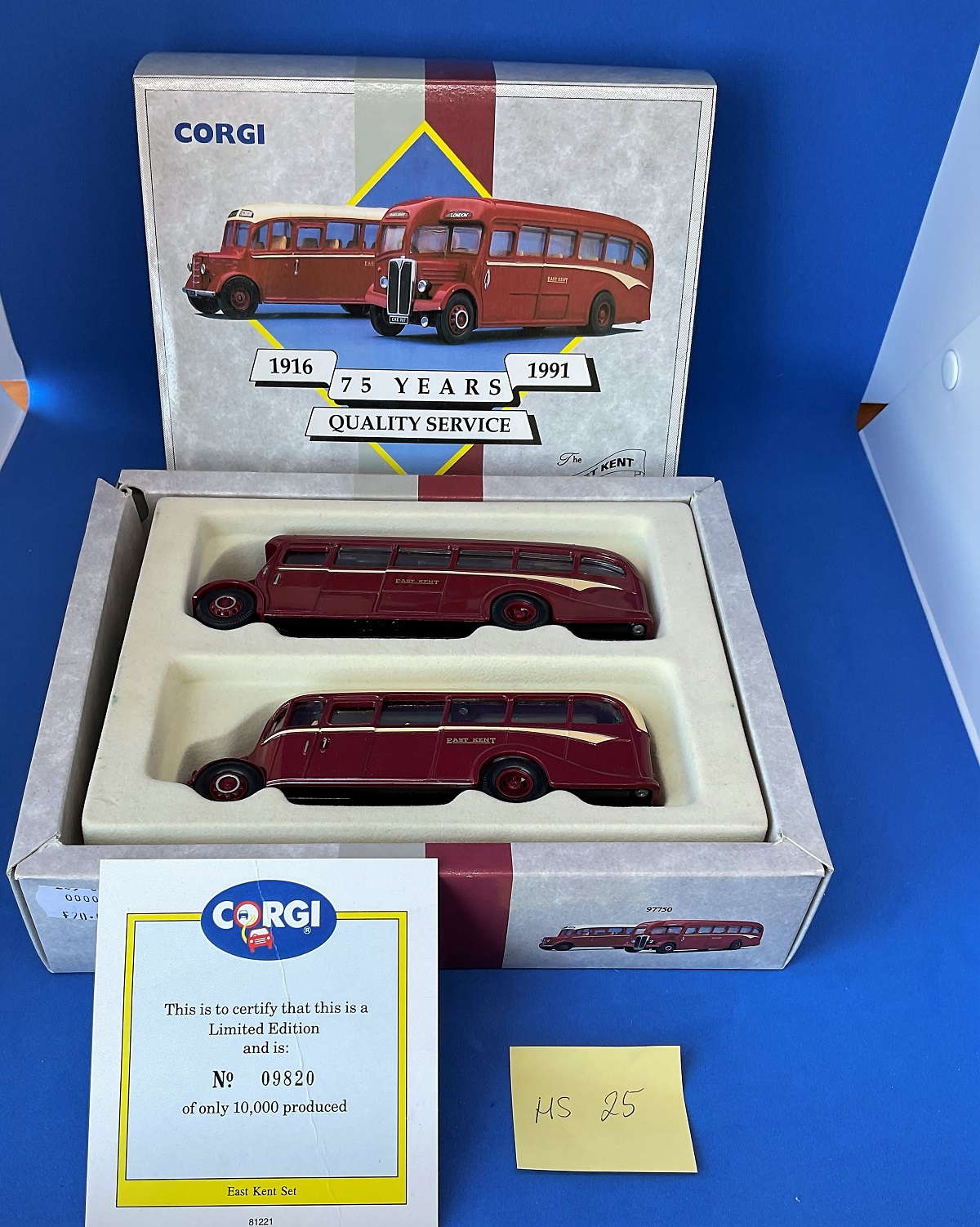 Vintage Toys. CORGI collection. TWO Die-cast metal and plastic EAST KENT busses. A 75 year quality