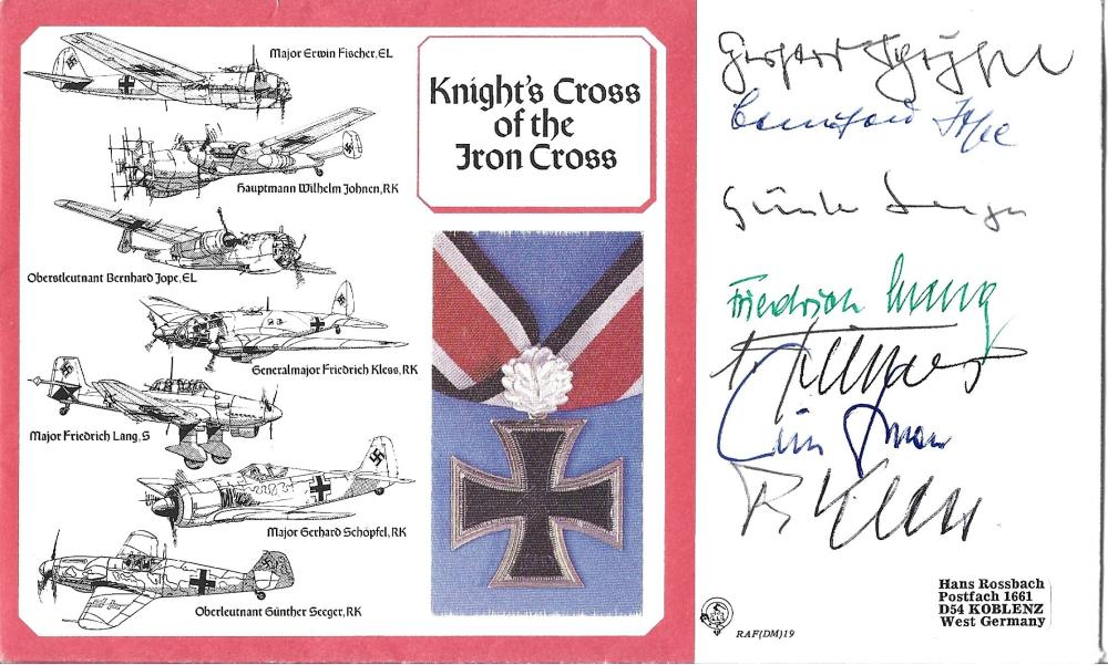 WW2 Knights Cross winners multiple signed cover. Seven Luftwaffe aces all featured on the cover