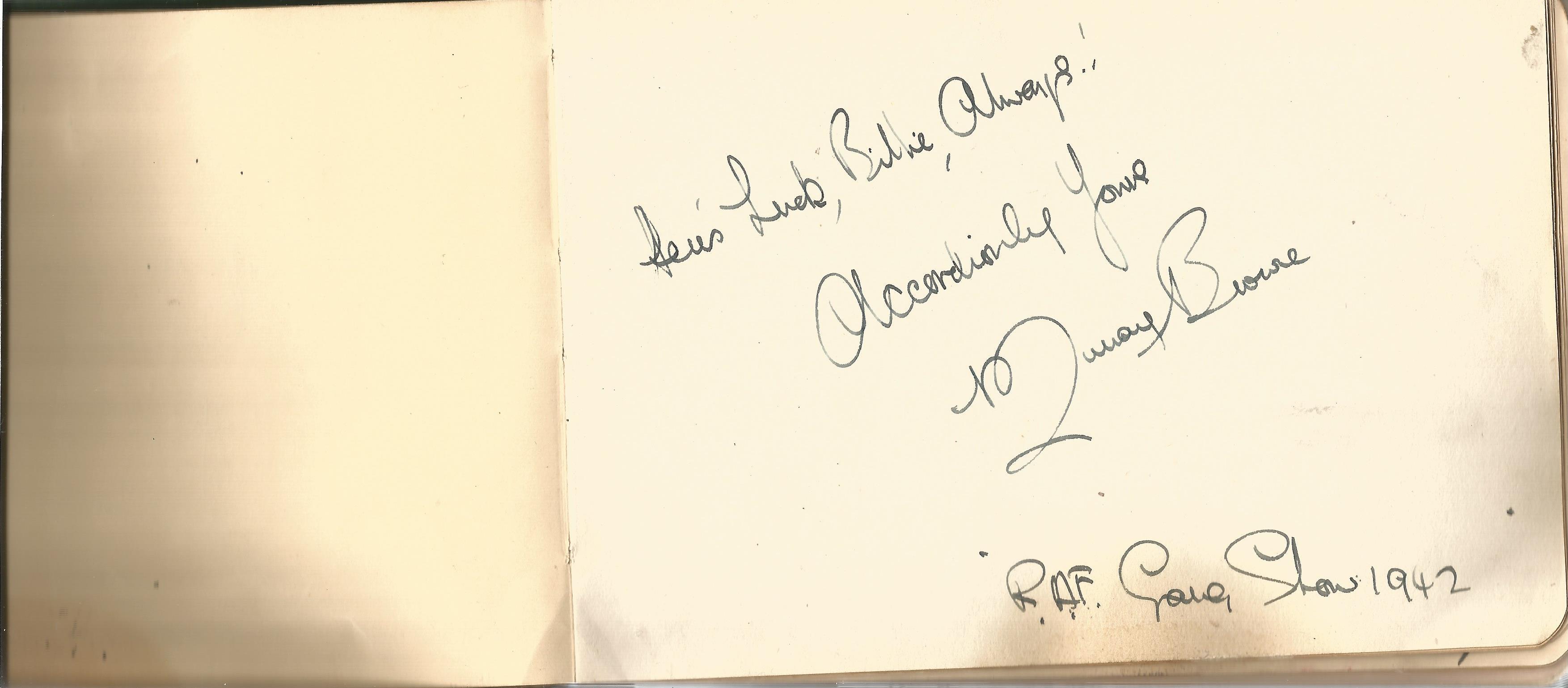 RAF Scampton. 1940-43. Autograph Album. 19cm wide x 13cm tall. Green cloth. Over 250 signatures. - Image 4 of 6