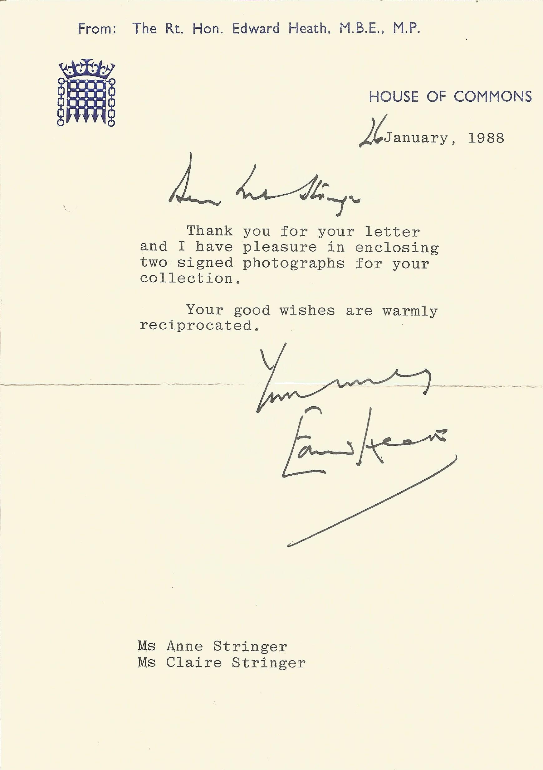 Edward Heath TLS dated 26th January 1988. Heath was a British politician who served as Prime