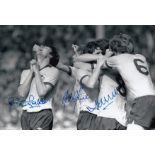 Autographed ARSENAL 12 x 8 photo - B/W, depicting ALAN SUNDERLAND being mobbed by delirious team