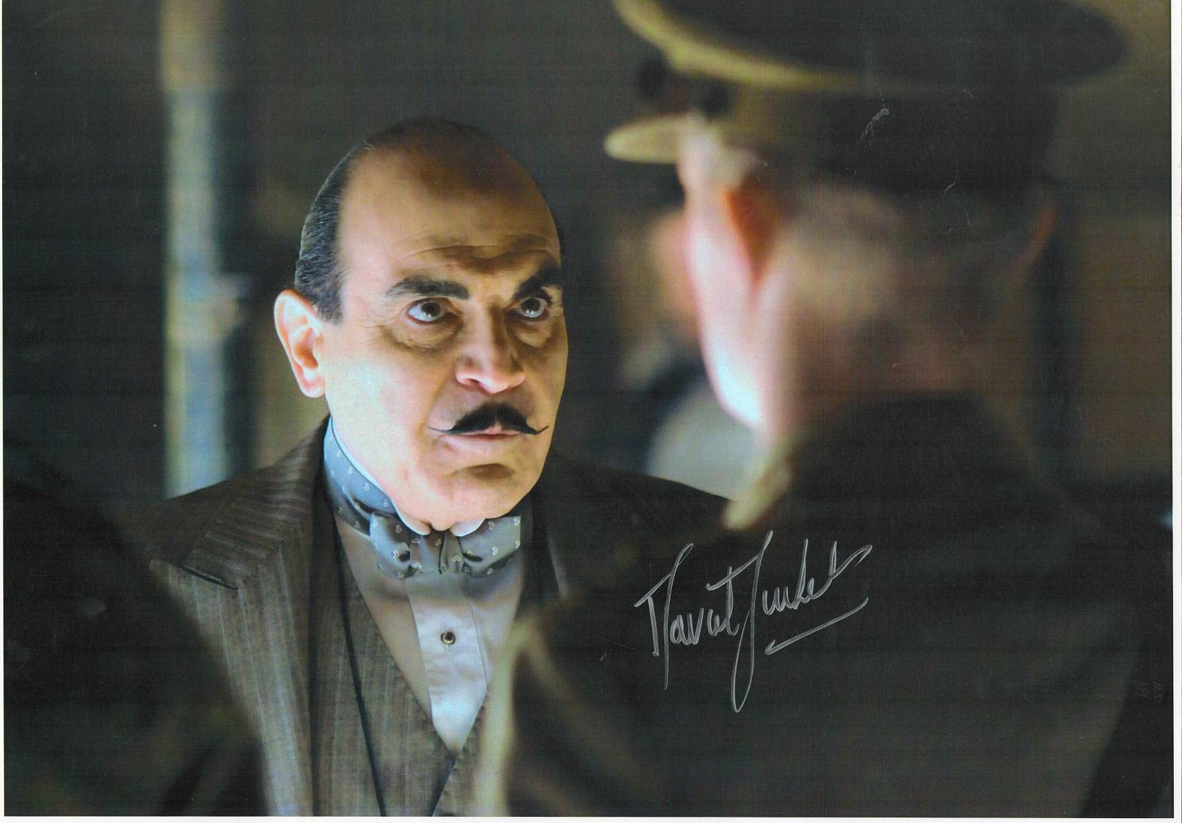 David Suchet signed 16x12 Poirot colour photo. Sir David Courtney Suchet, CBE ( born 2 May 1946)