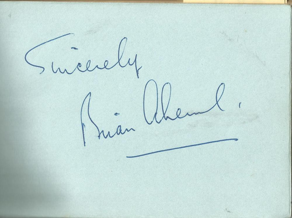 Brian Aherne signed 6x4 album page. William Brian de Lacy Aherne (2 May 1902 - 10 February 1986) was