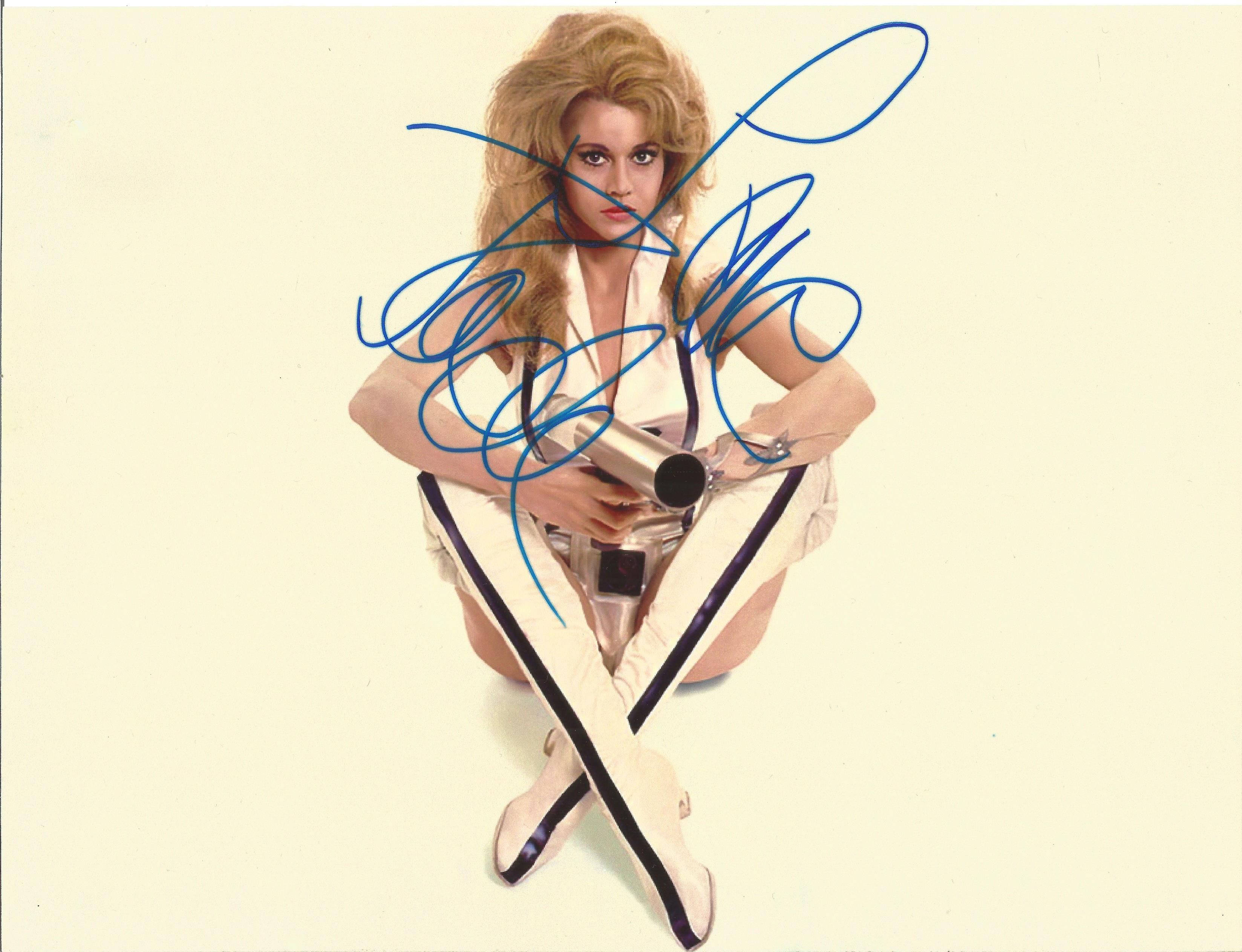 Jane Fonda signed 10x8 Barbarella colour photo. Jane Seymour Fonda (born December 21, 1937) is an