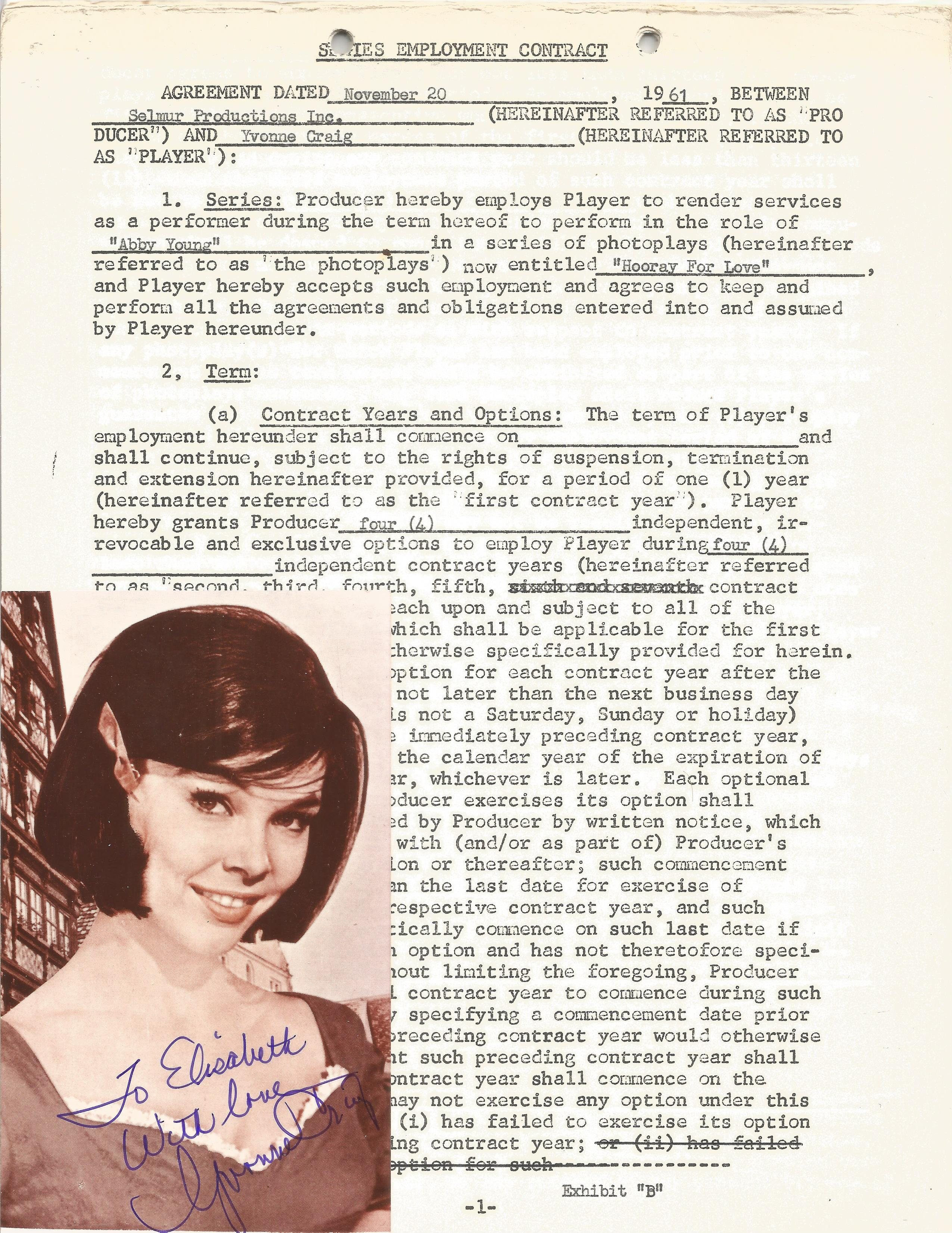 A Yvonne Craig employment contract from the film HOORAY FOR LOVE as the character ABBY YOUNG on